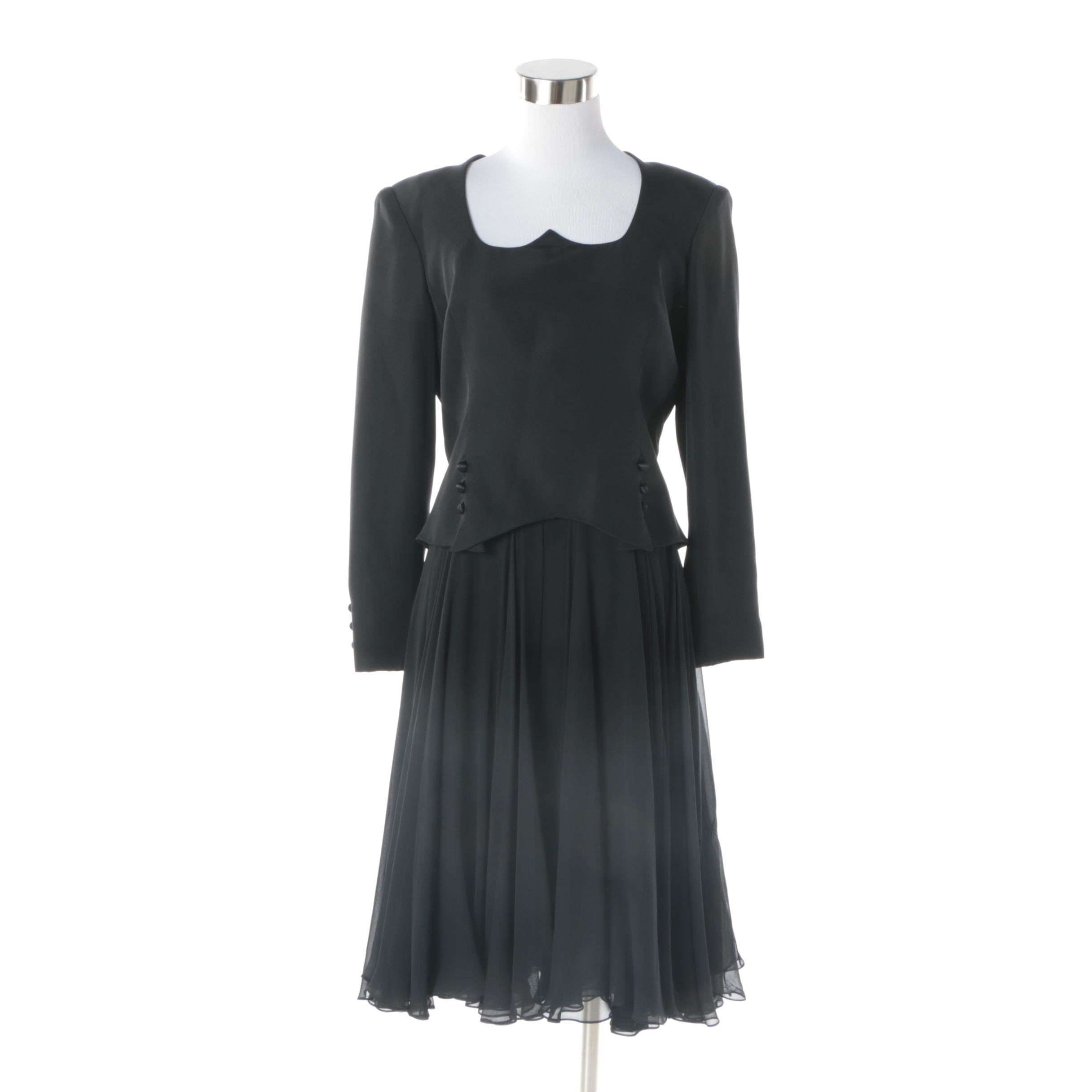 1980s Travilla Black Silk Evening Dress with Chiffon Skirt and Button Detail