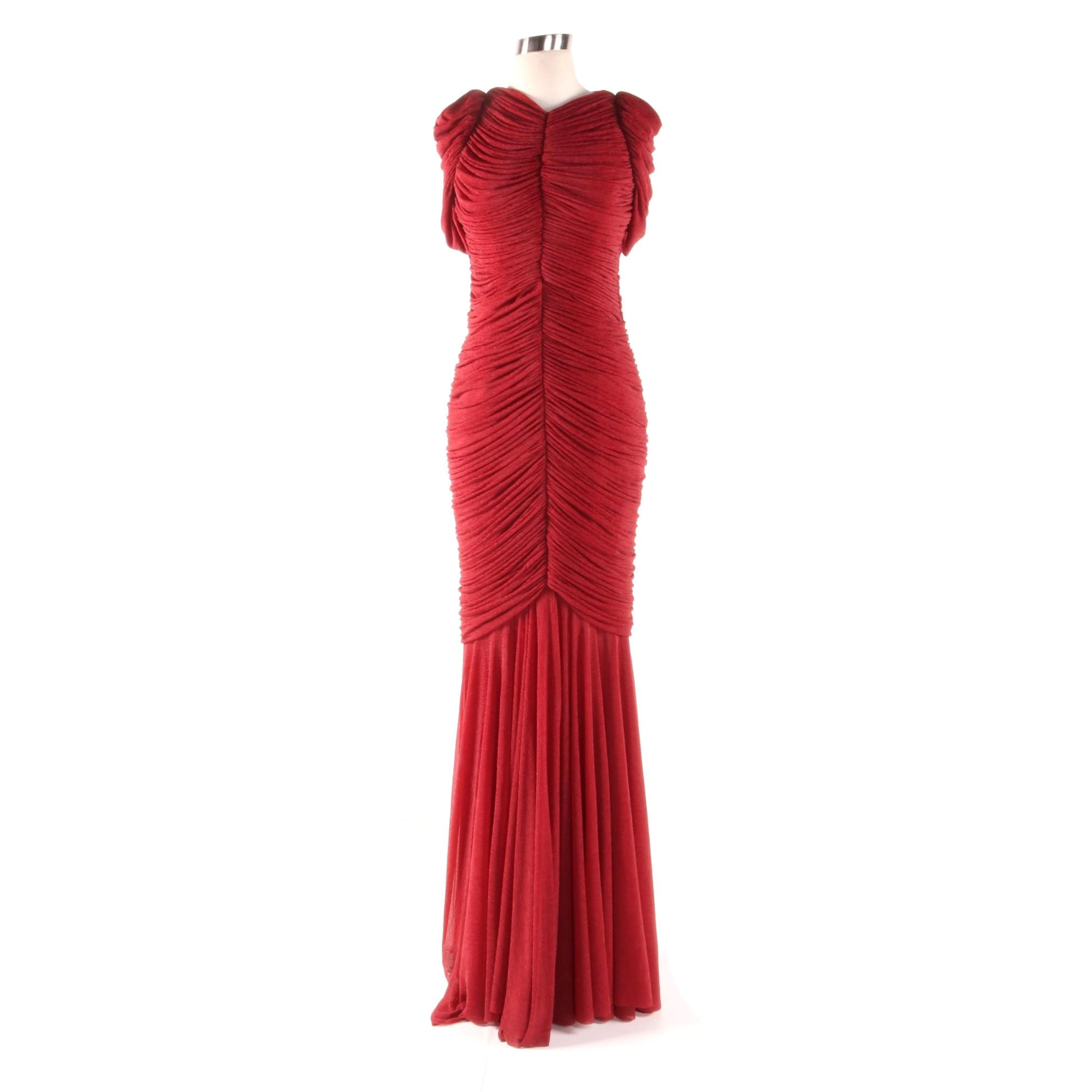 John Paul Ataker of New York Bordeaux Red Ruched Maxi Evening Gown