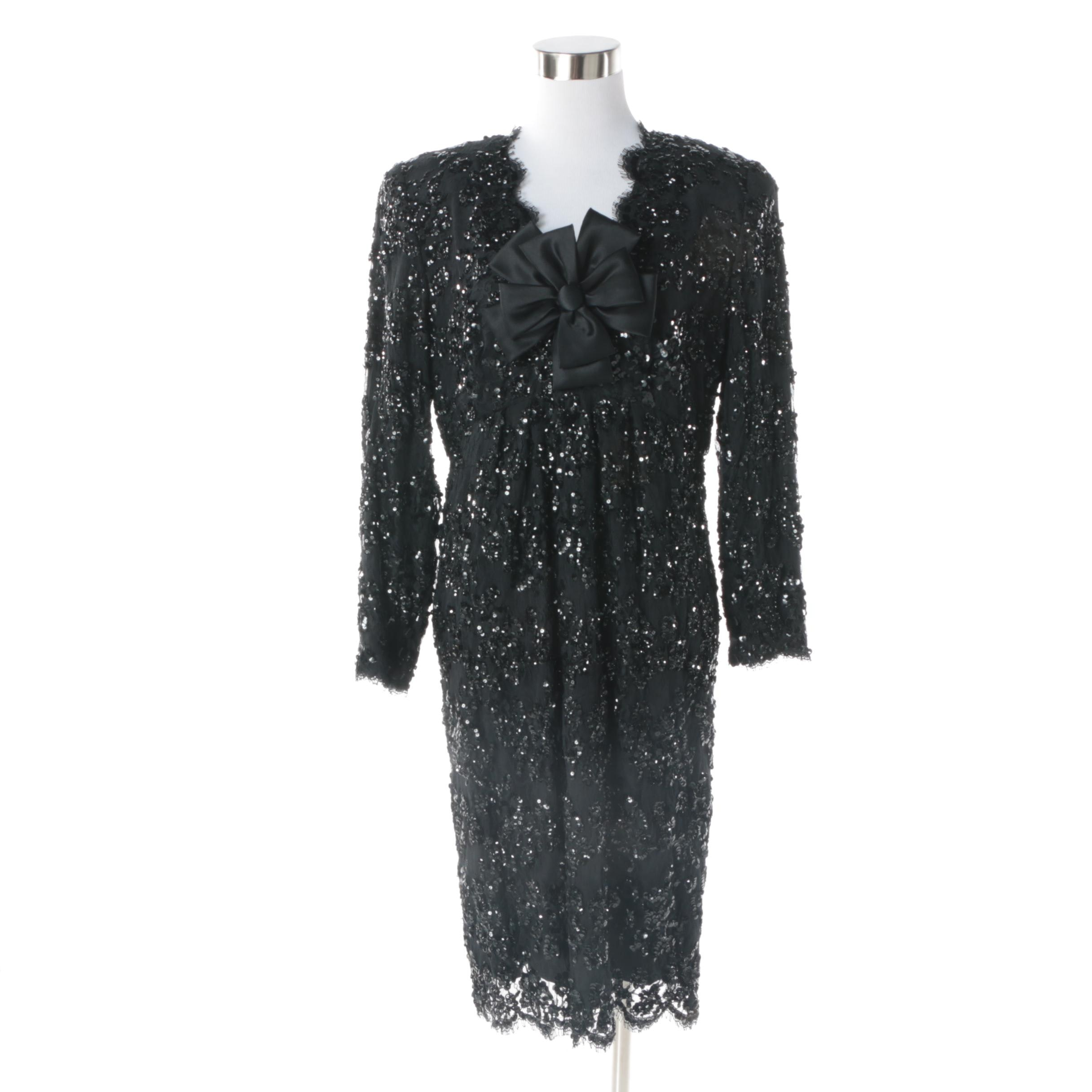 1980s Stanley Platos - Martin Ross Black Floral Lace and Sequin Cocktail Dress