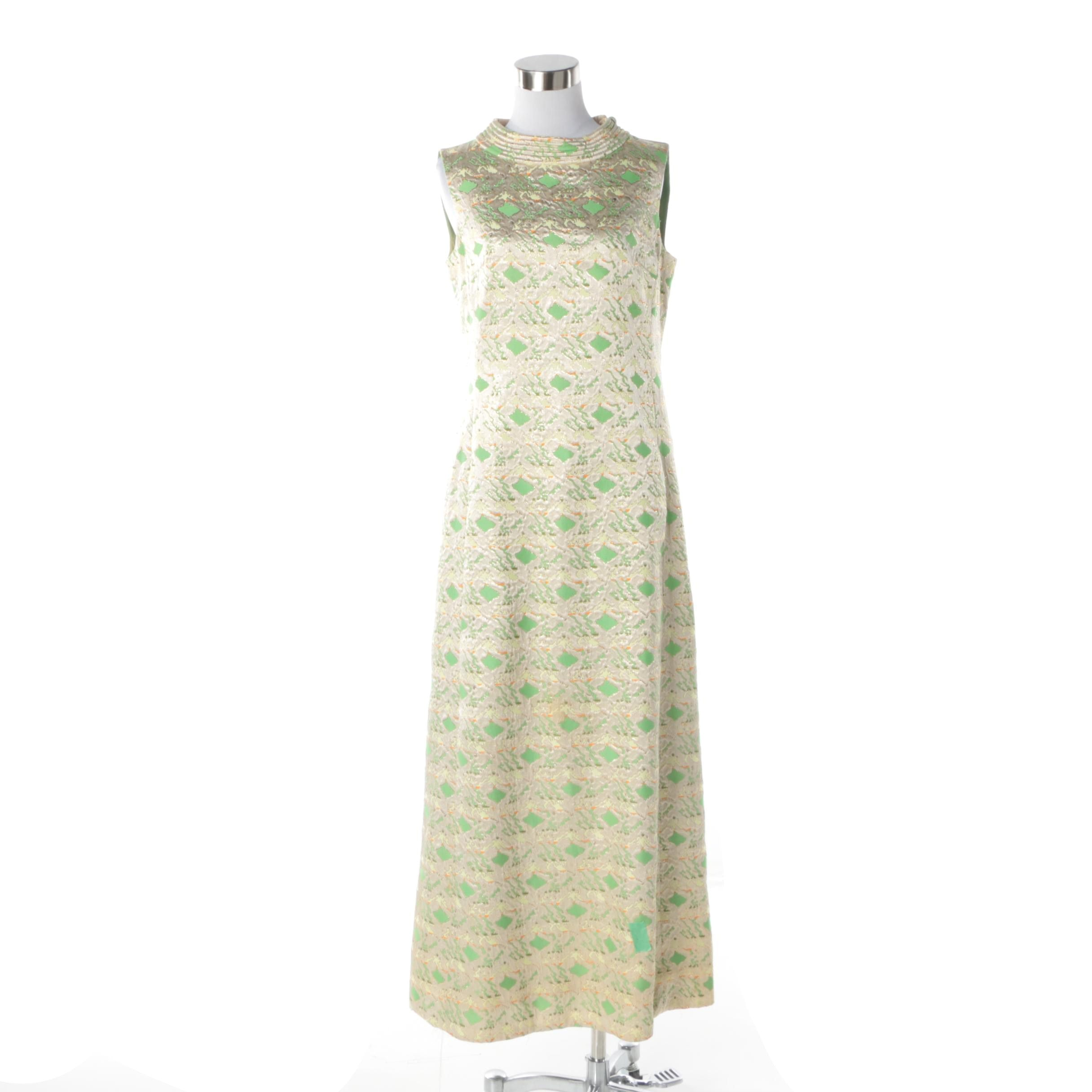 1960s Vintage Gold and Green Metallic Brocade Sleeveless Evening Dress