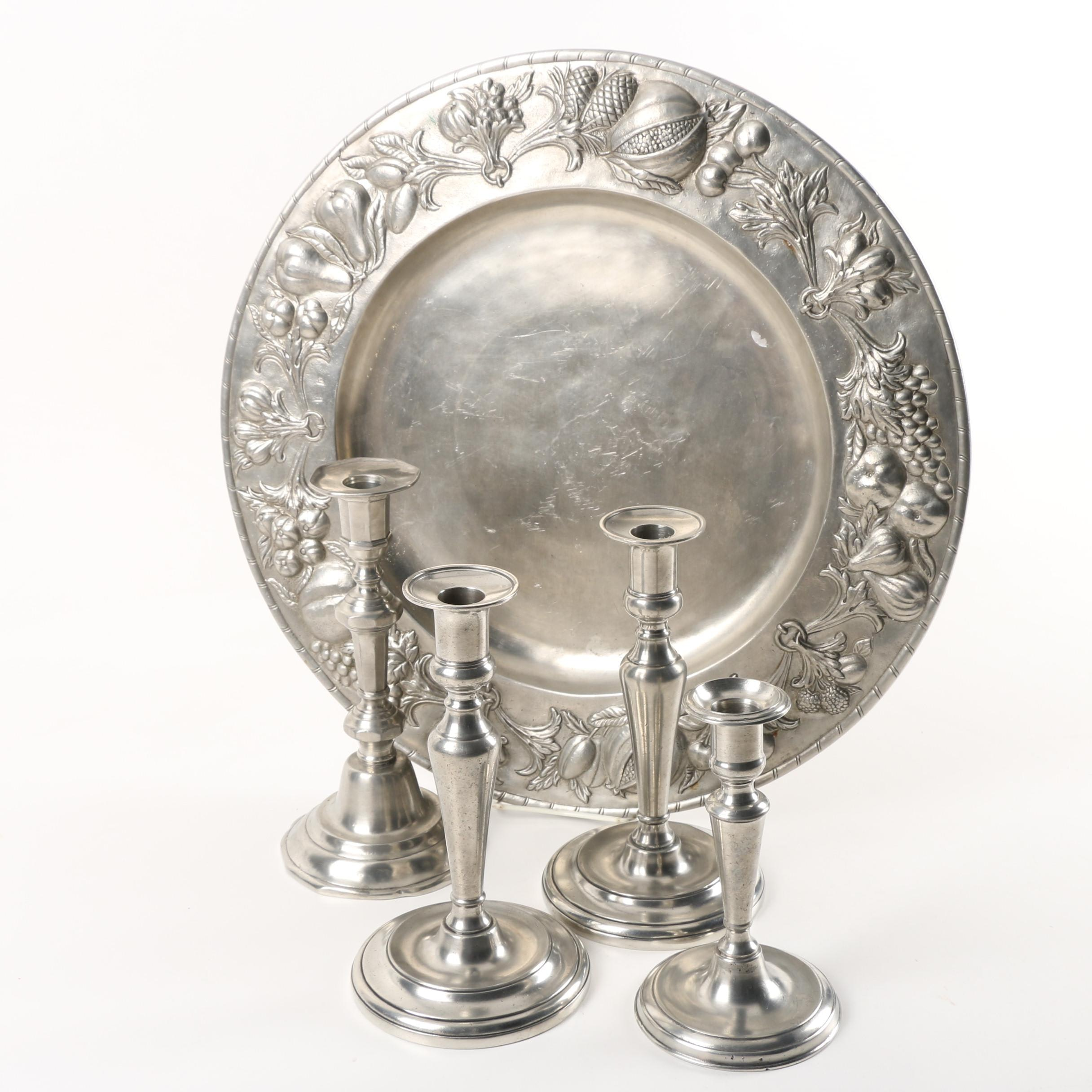 La Bottega del Peltro and Cosi Tabellini Italian Pewter Tray and Candlesticks