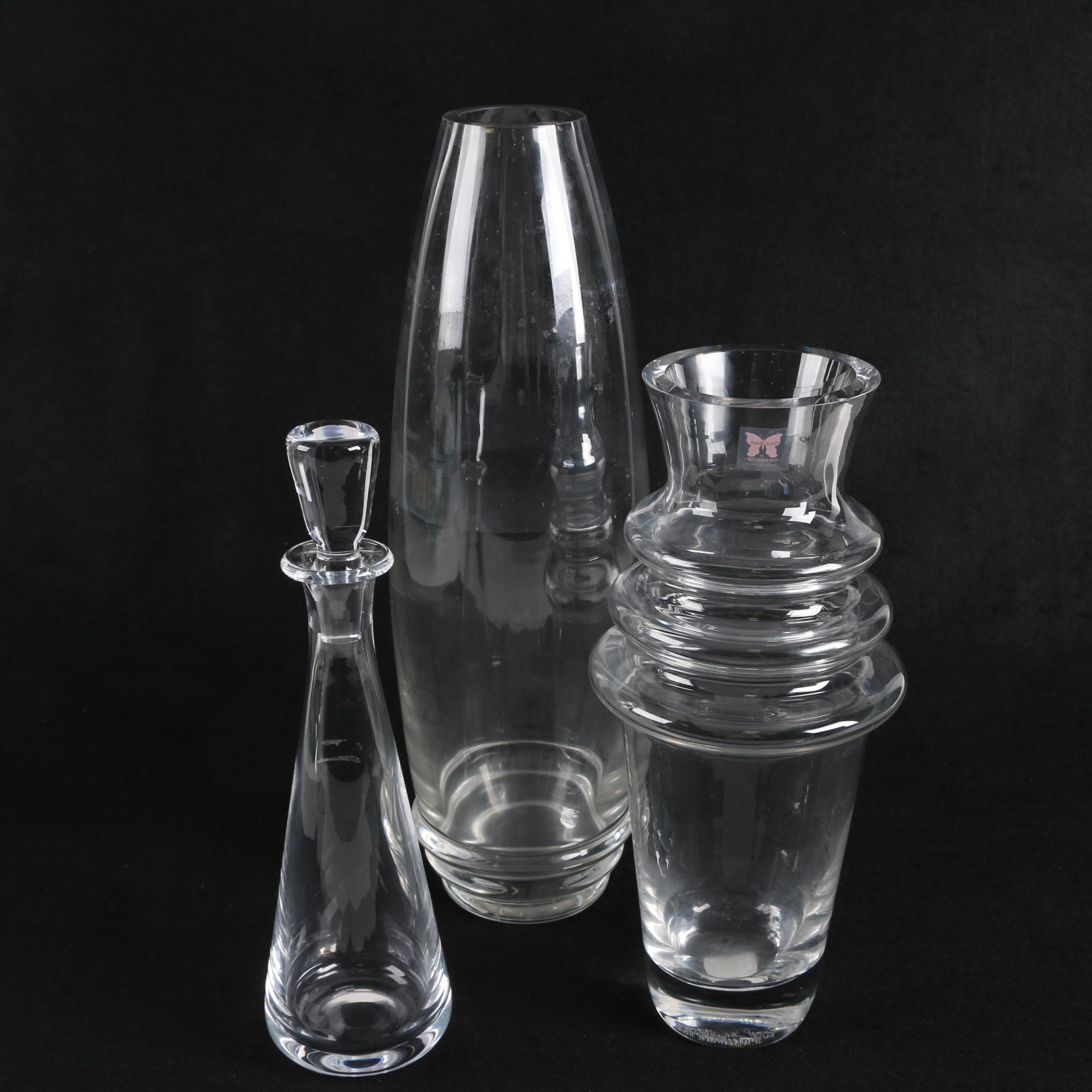 """Marquis by Waterford """"Vintage"""" Decanter Vases including """"Cha-Cha"""""""
