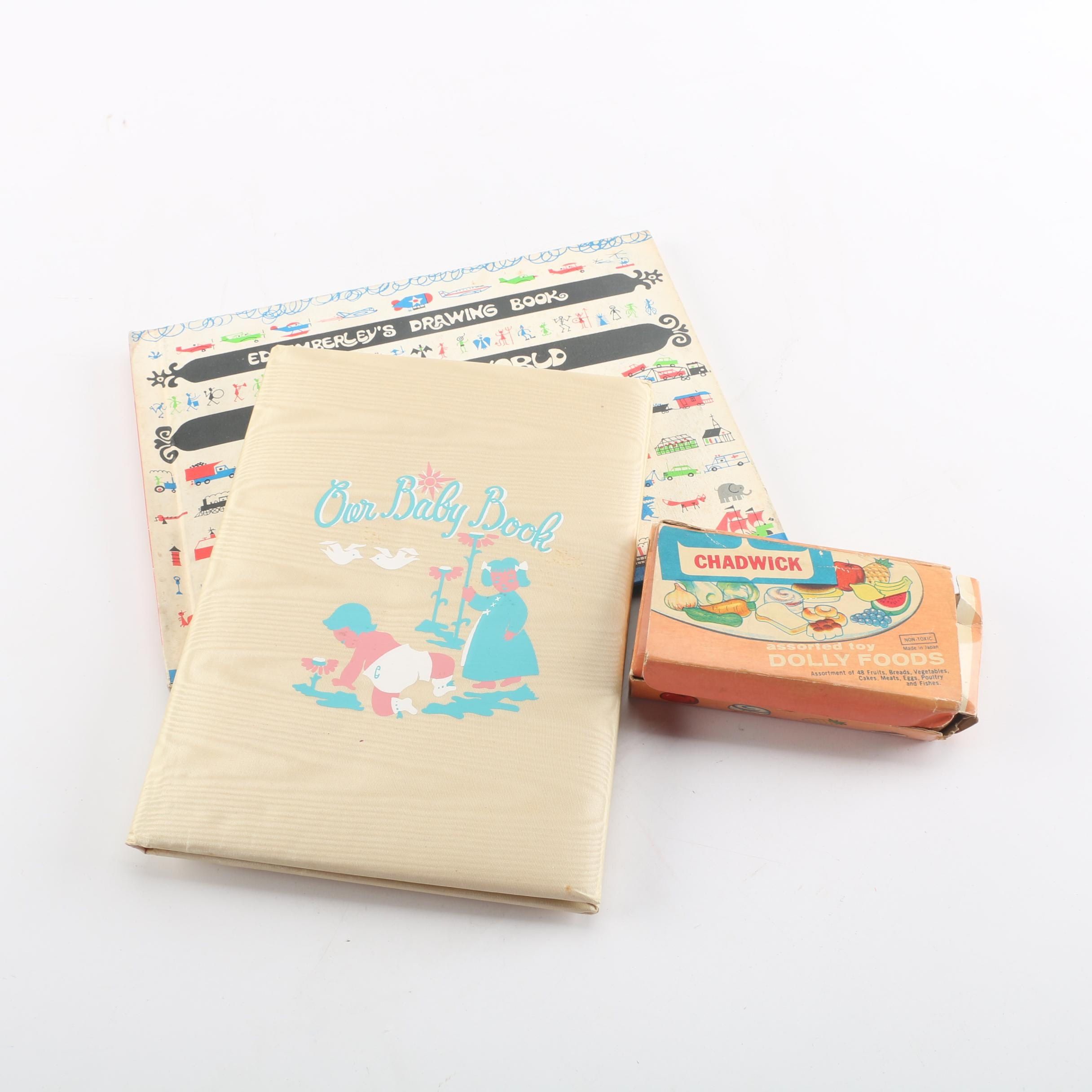 Baby Book with Child's Drawing Book and Chadwick Toy Dolly Foods