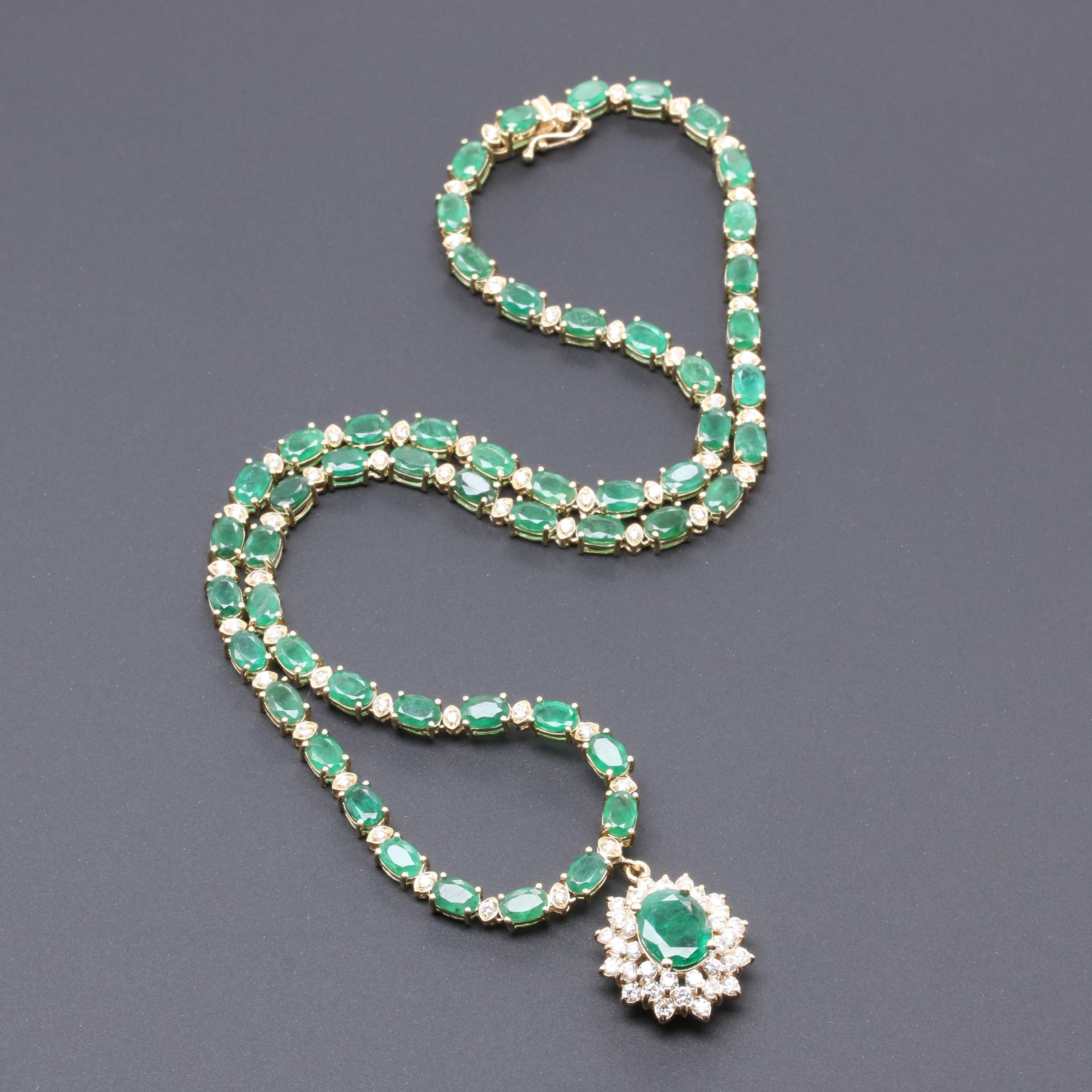 14K Yellow Gold Emerald and 2.10 CTW Diamond Necklace with 1.58 CT Emerald
