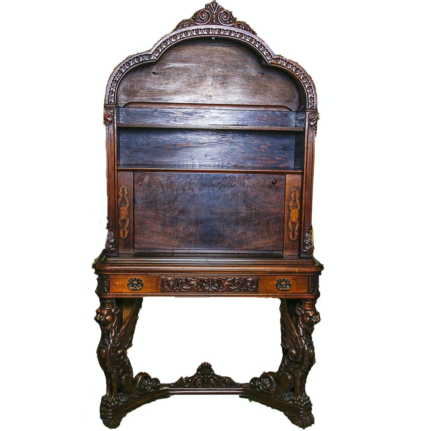 Carved and Burl Veneered Secretary with Hutch