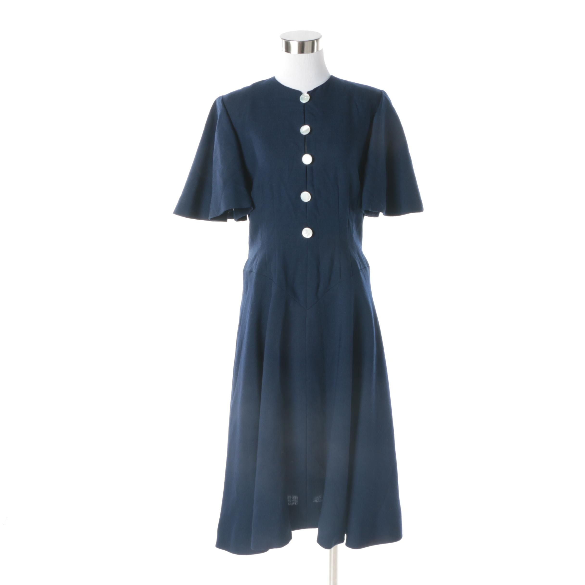 Women's Vintage Pauline Trigere Navy Silk Blend Dress