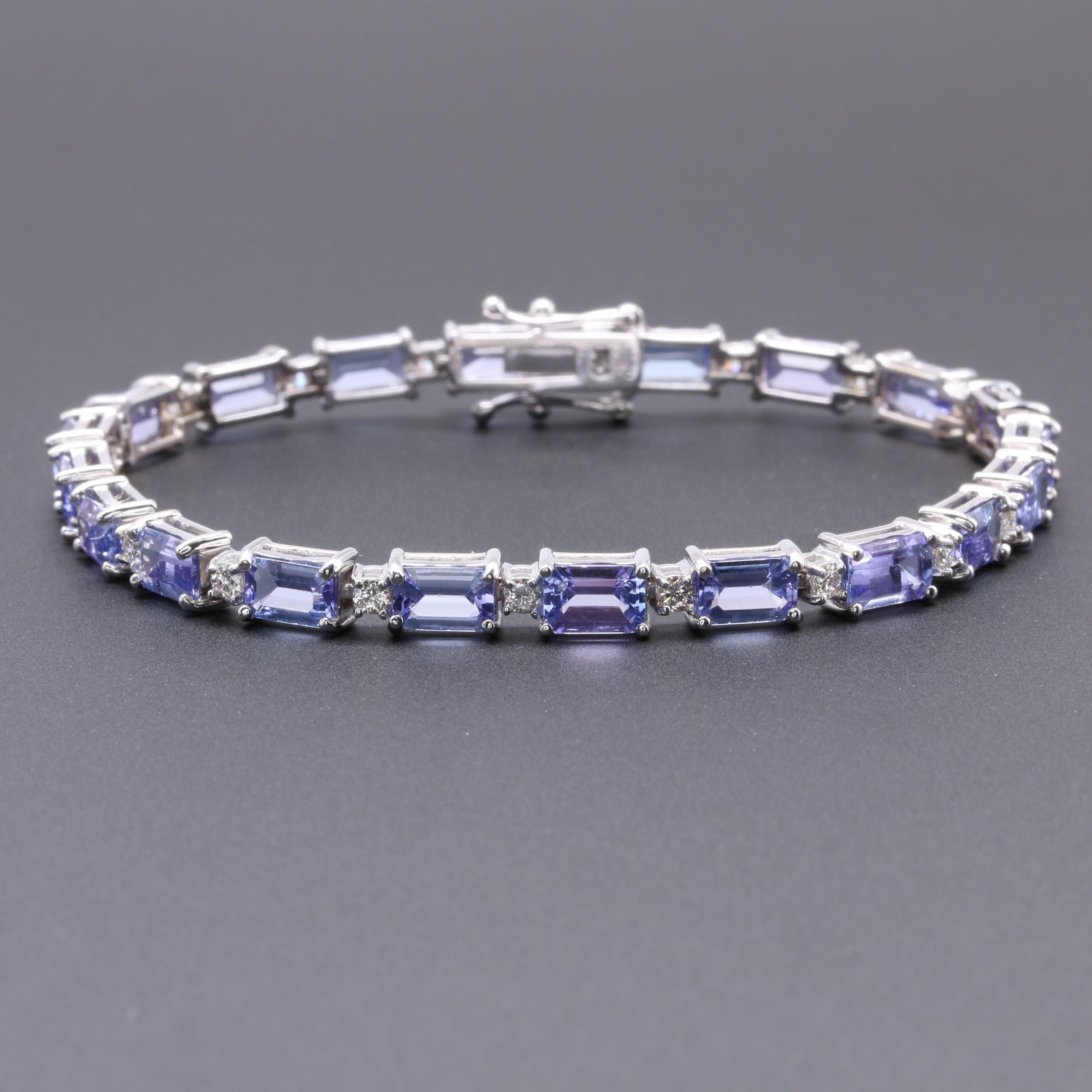 18K White Gold Tanzanite and Diamond Tennis Bracelet