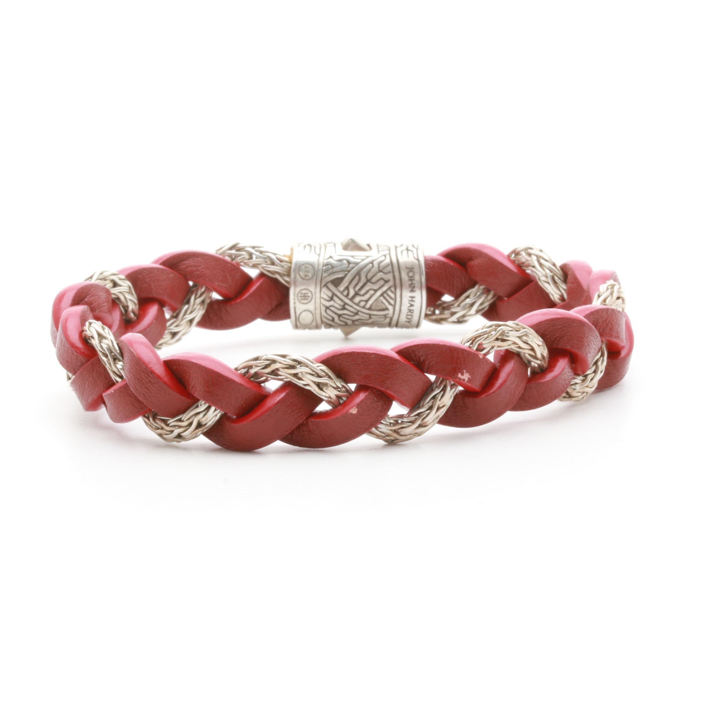 "John Hardy ""Classics Collection"" Sterling Silver Red Leather Cord Bracelet"