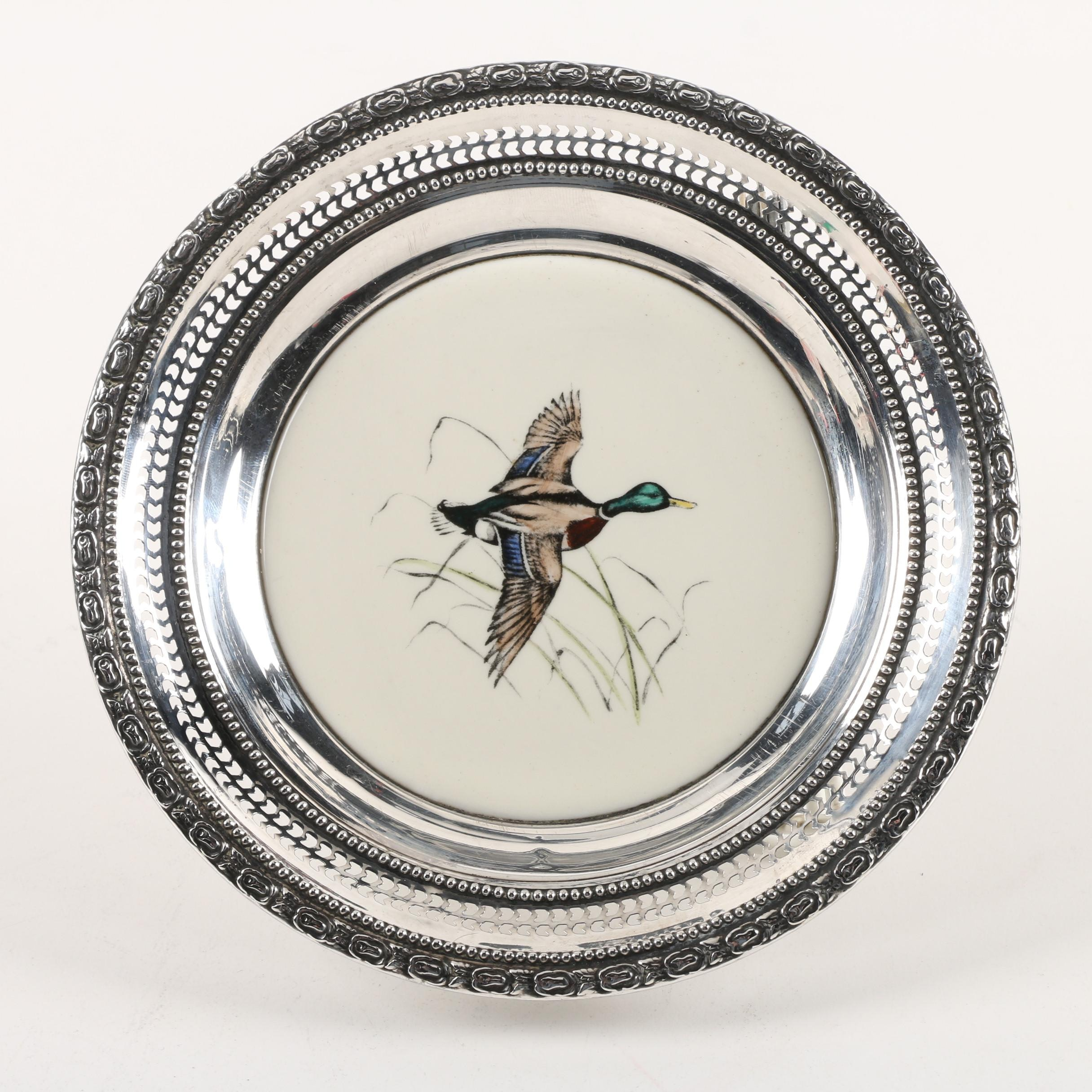 """Frank M. Whiting """"Mallard"""" Sterling Rimmed Hand-Colored China Plate"""