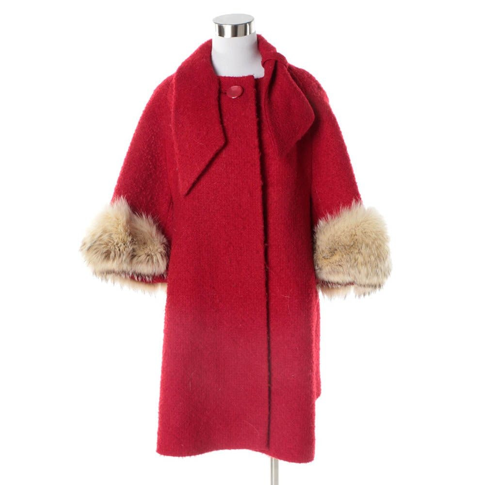 Women's Circa 1960s Vintage Red Bouclé Swing Coat with Raccoon Fur Cuffs