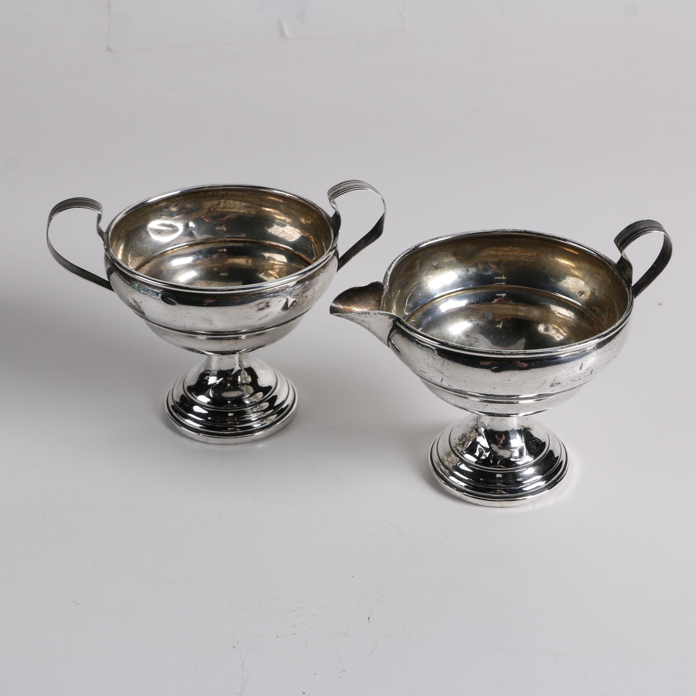 Elgin Silversmith Co. Weighted Sterling Sugar Bowl and Creamer Set