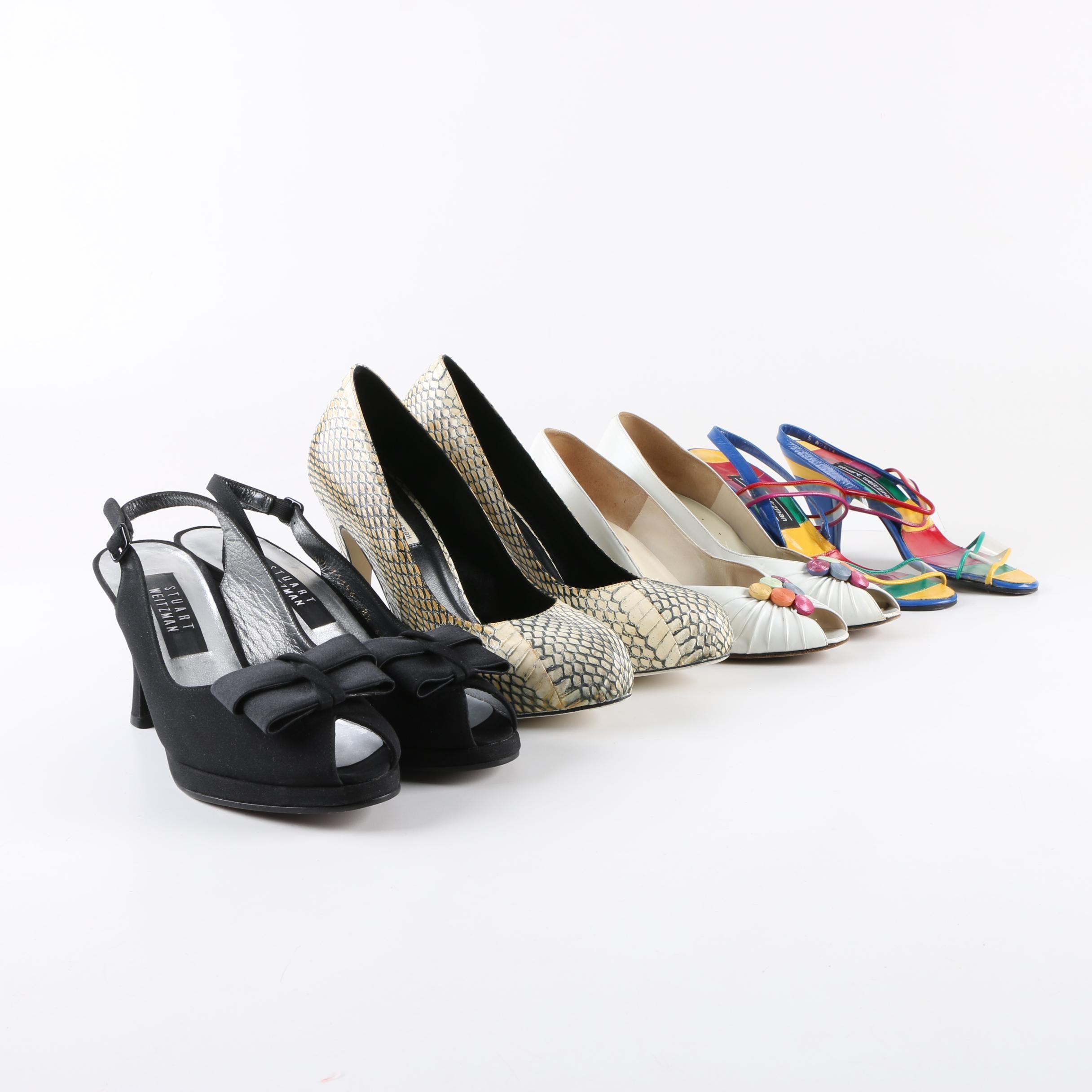 Vintage Heels Including Stuart Weitzman, Italian, Snakeskin
