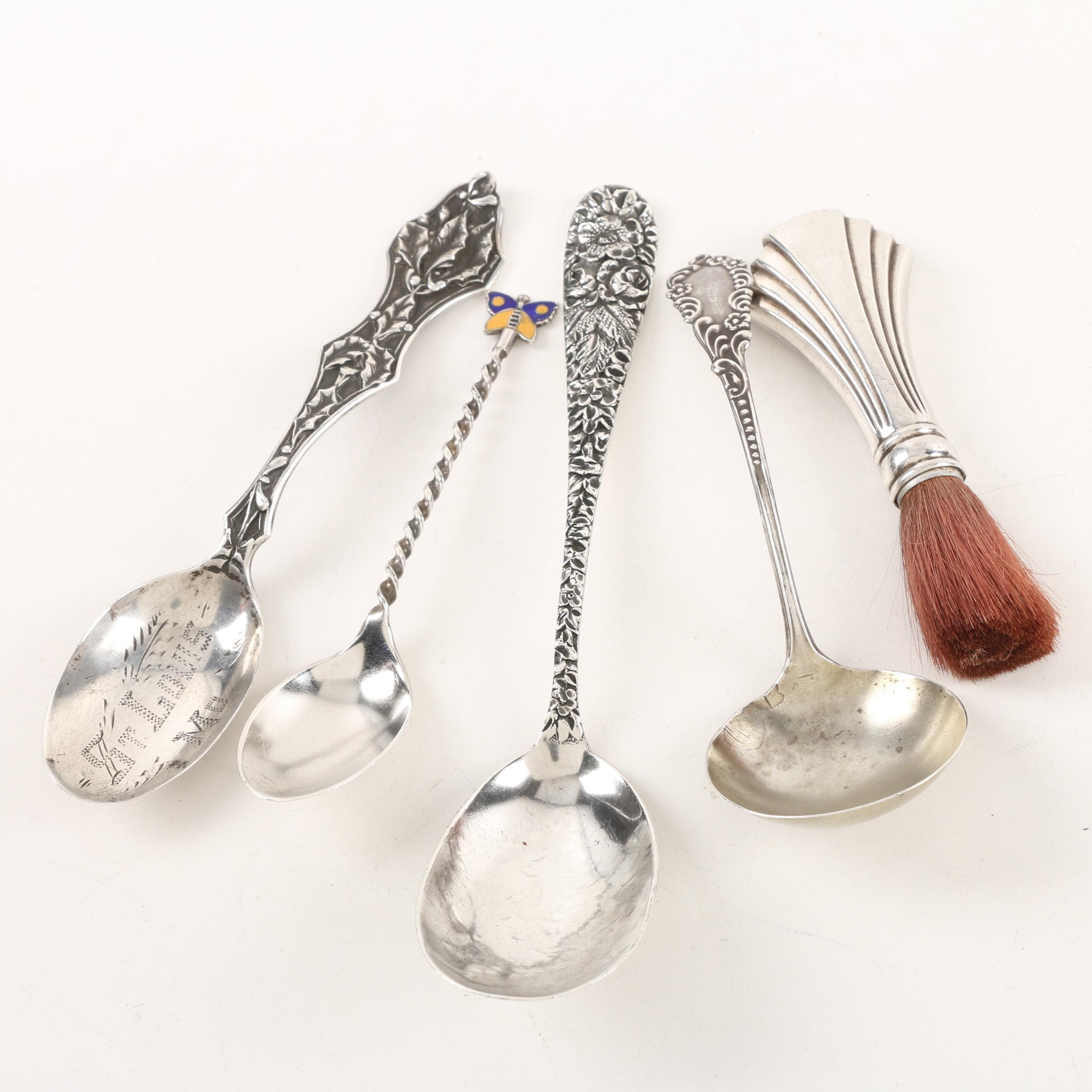 Schofield Co. Sugar Spoon with Other Sterling Flatware and Makeup Brush