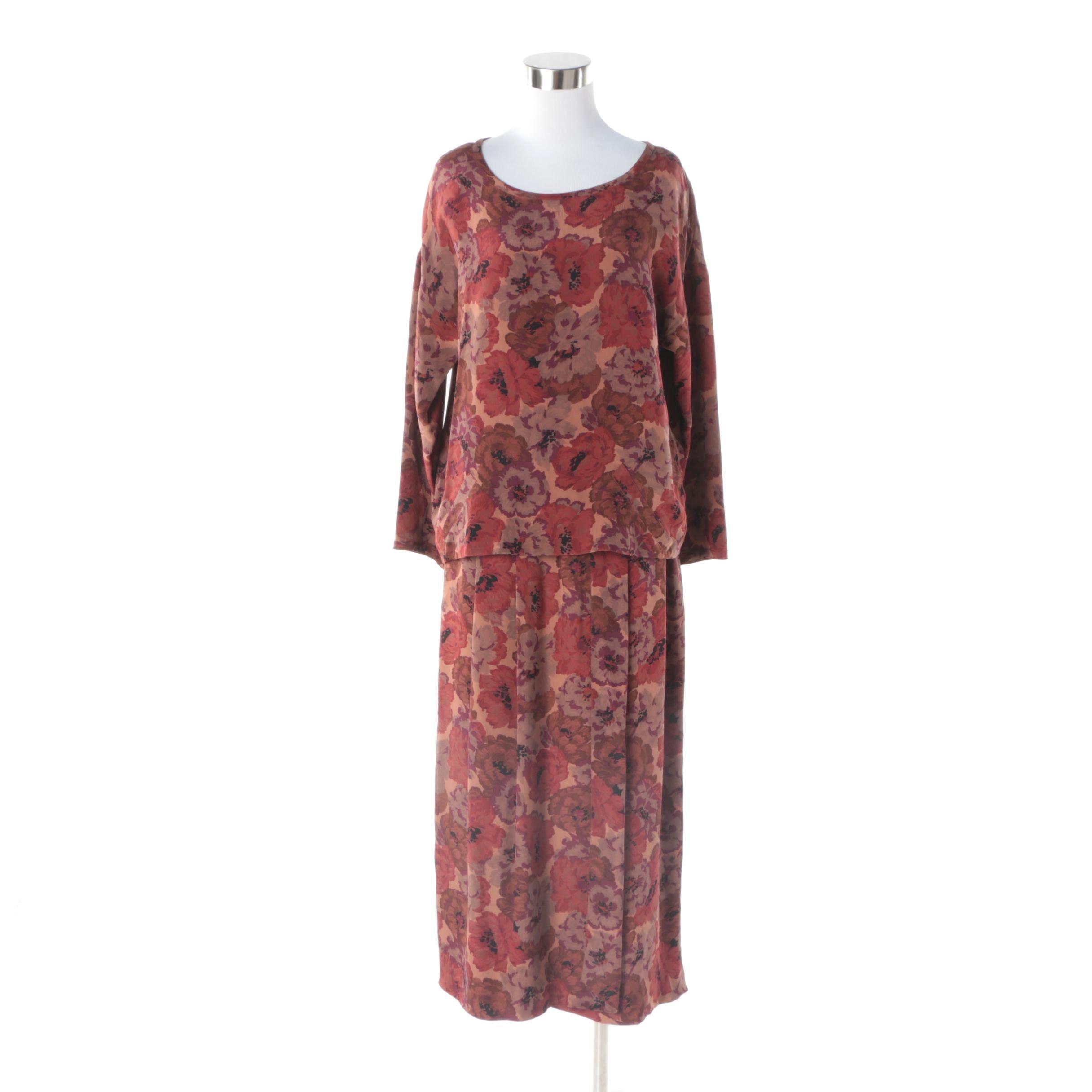 Women's 1980s Vintage Geoffrey Beene Silk Floral Print Blouse and Skirt Set