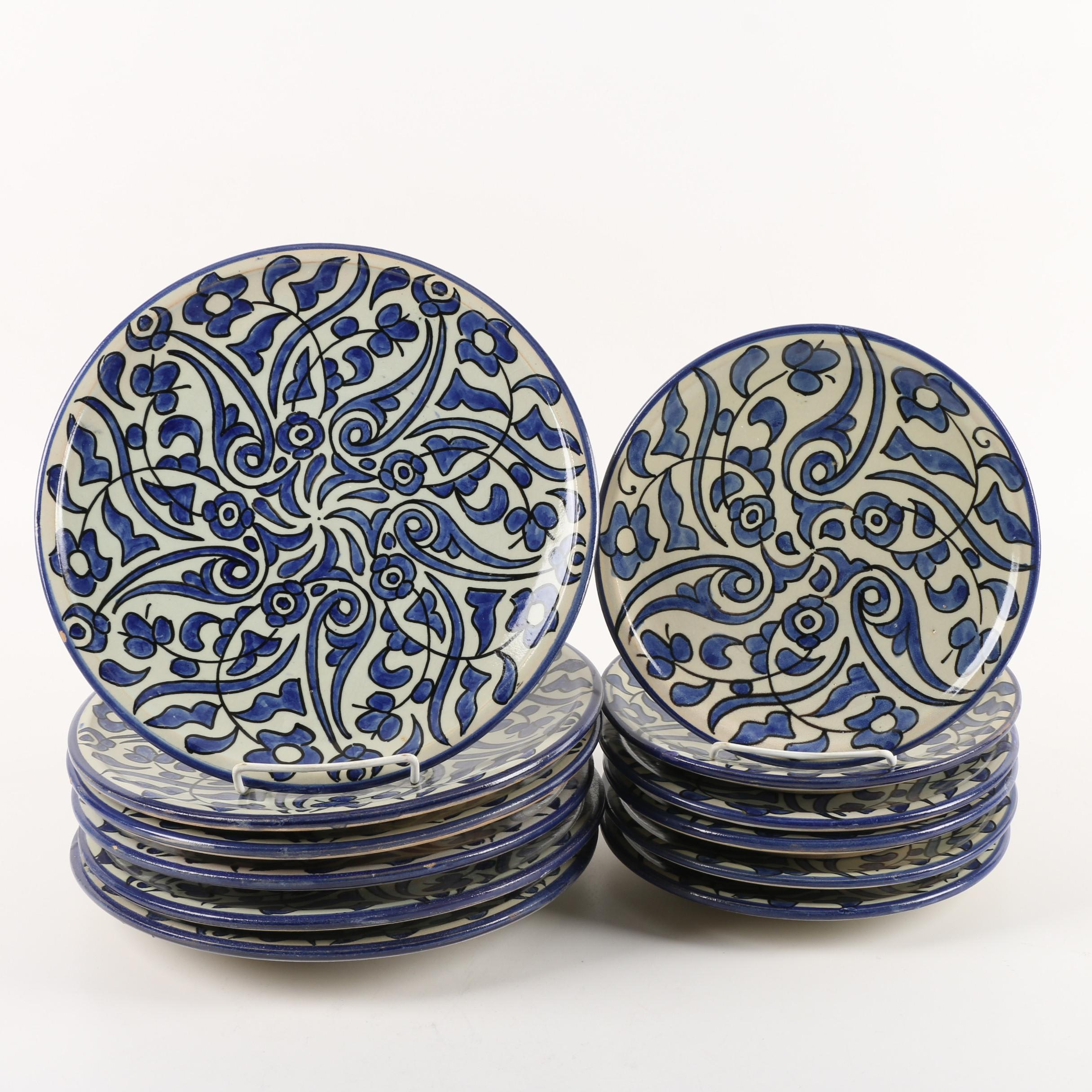 Moroccan  Hand-Painted Ceramic Dinner and Salad Plates for Six