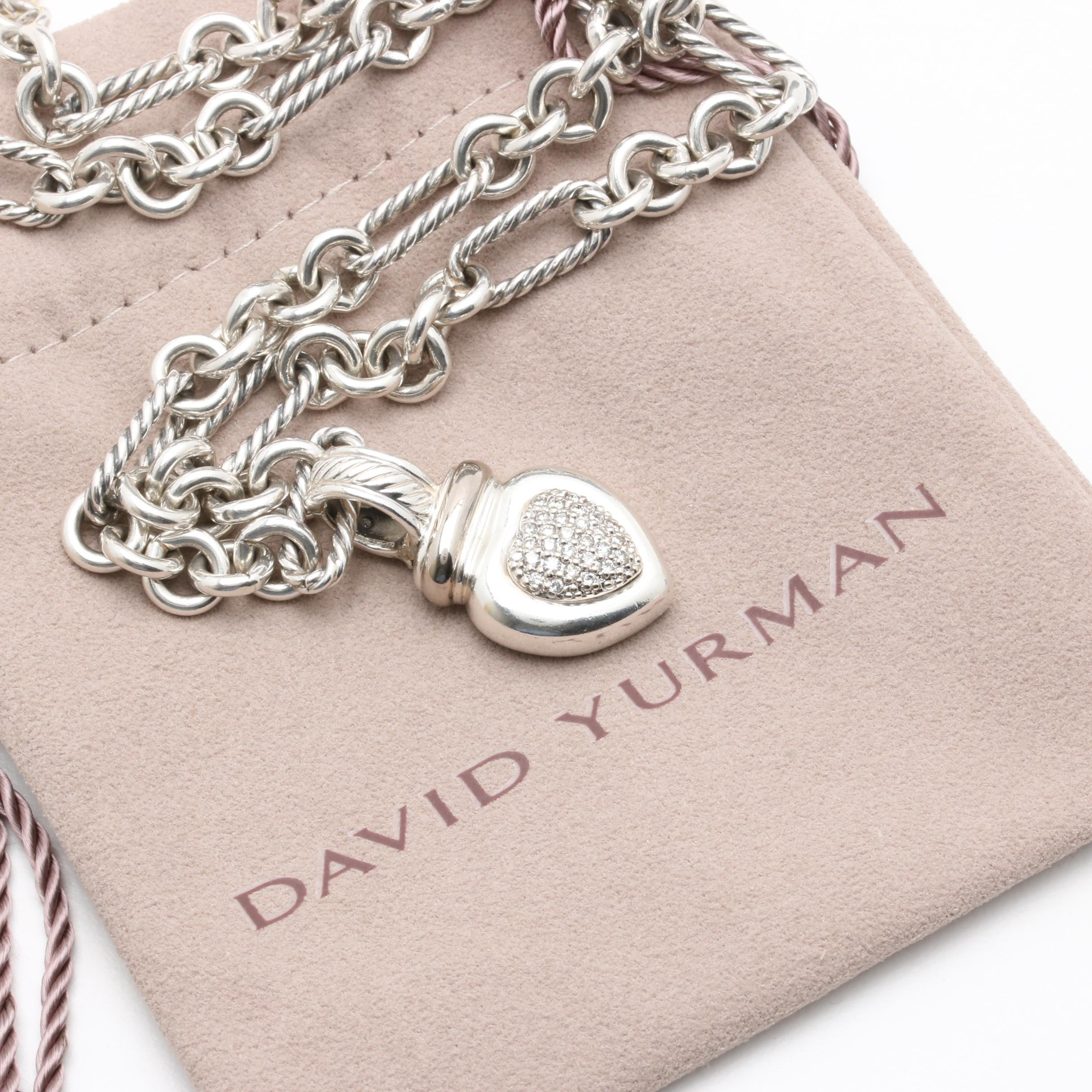 David Yurman Sterling Silver Diamond Heart Necklace With 18K Accents