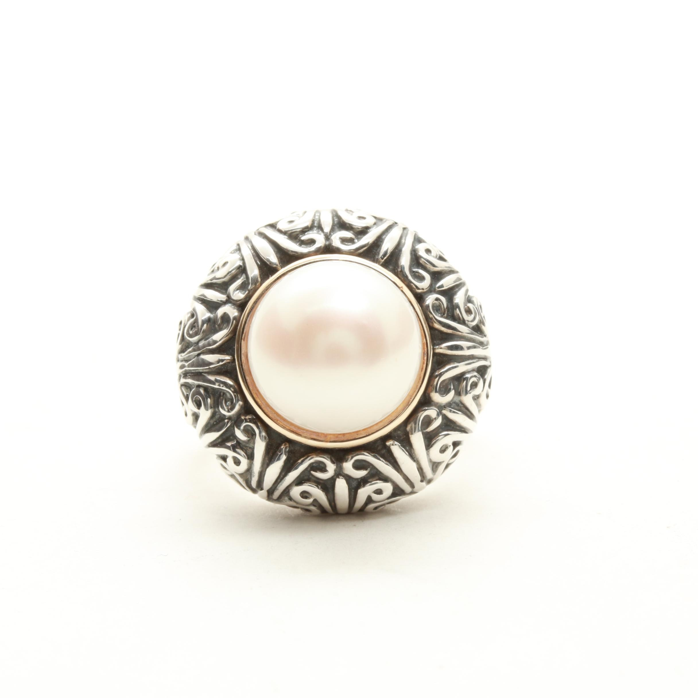 Sterling Silver Cultured Pearl Ring with 14K Yellow Gold Accent