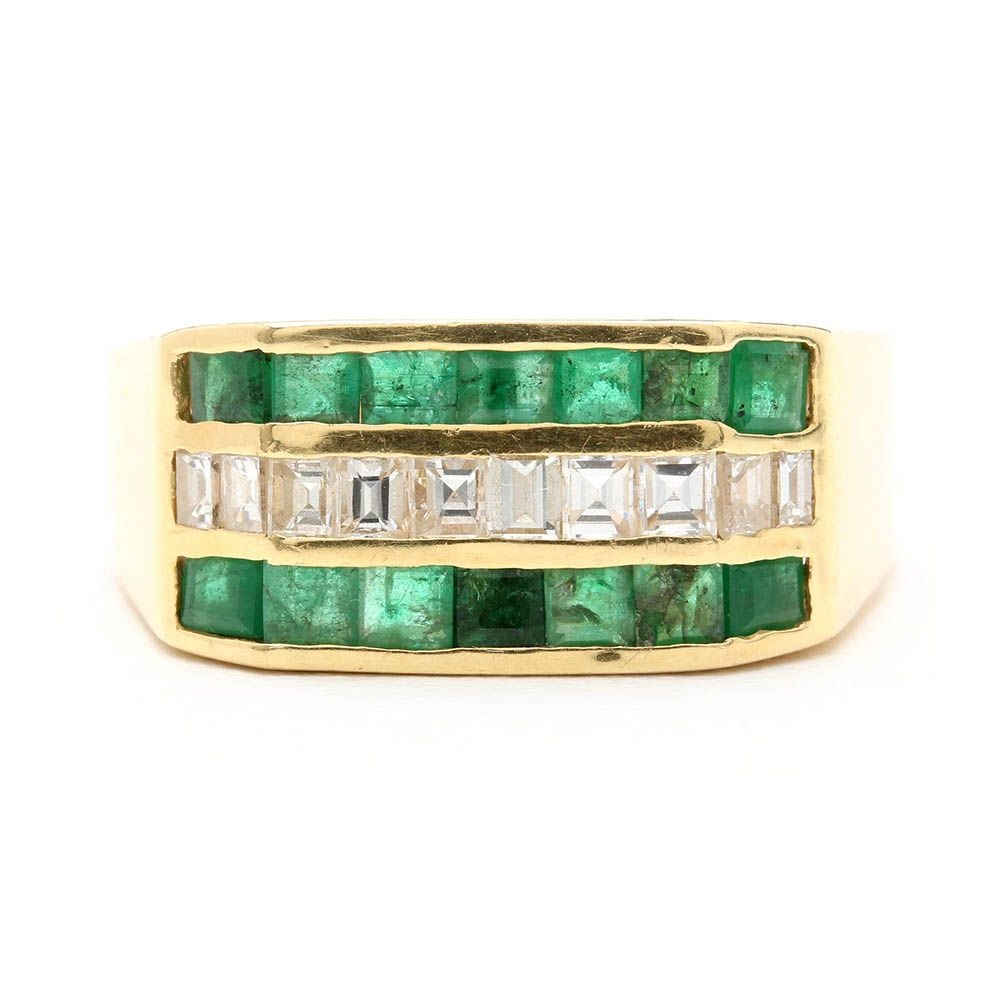 14K and 18K Yellow Gold Diamond and Emerald Ring