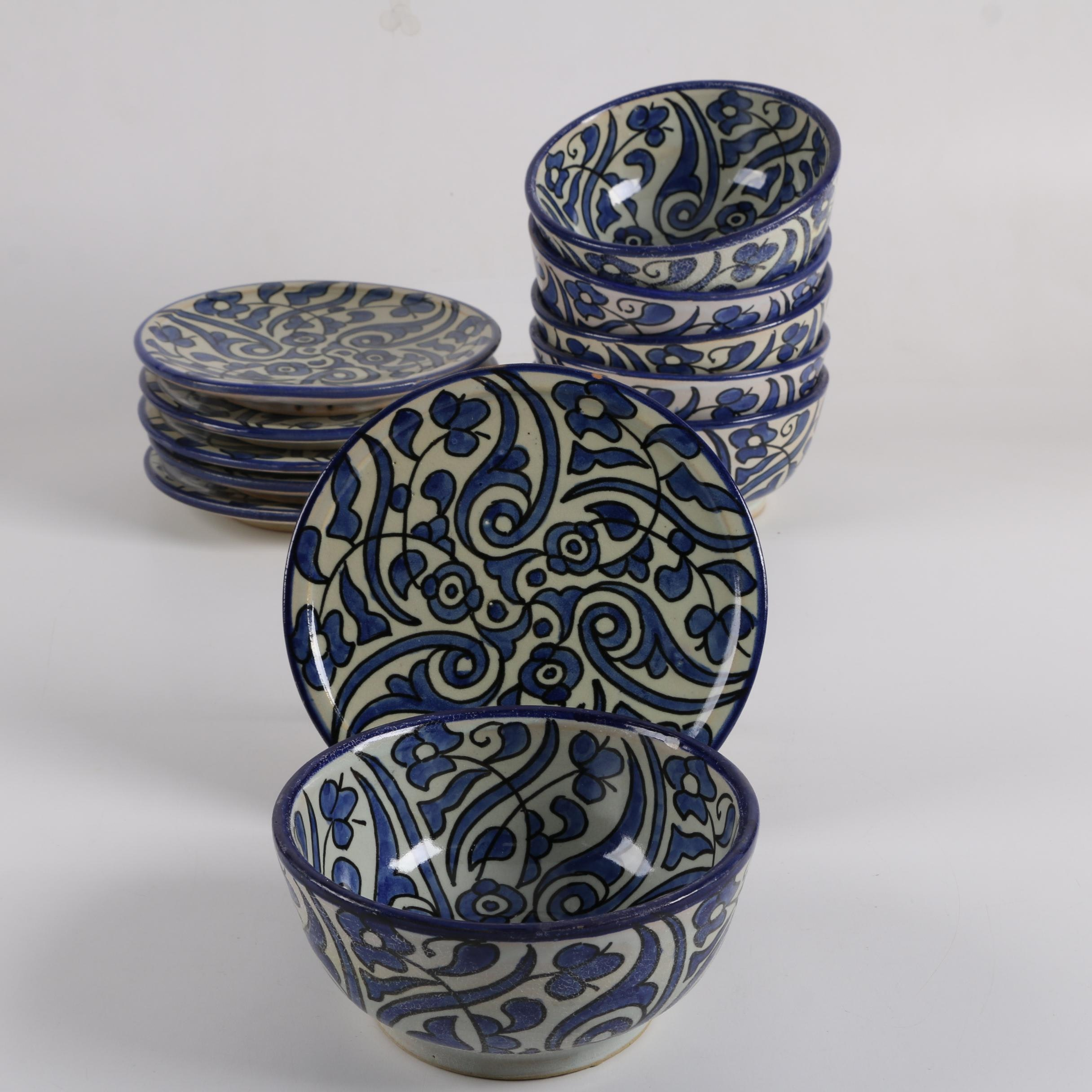 Moroccan Hand-Painted Ceramic Bowls and Bread Plates