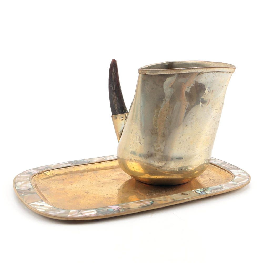Brass Tray with Abalone Rim and Alpaca Pitcher with Goat Horn Handle