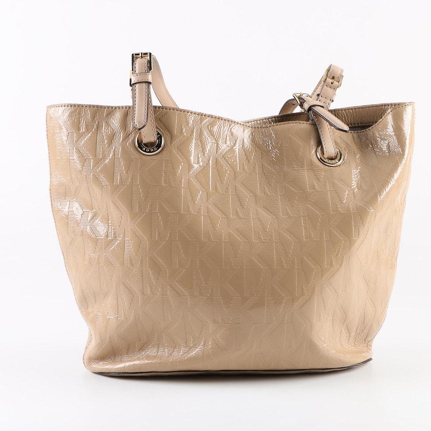4f6ea435e5b0 MICHAEL Michael Kors Beige Patent Leather Tote Bag : EBTH