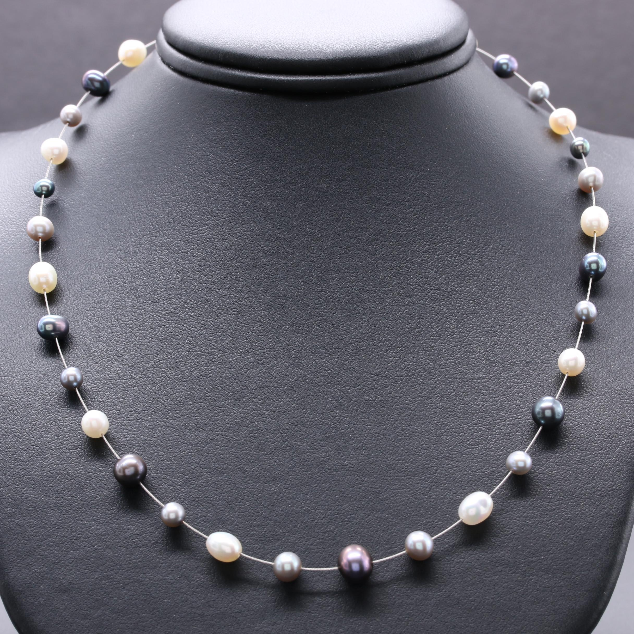 14K Yellow Gold and Silver Tone Cultured Pearl Necklace