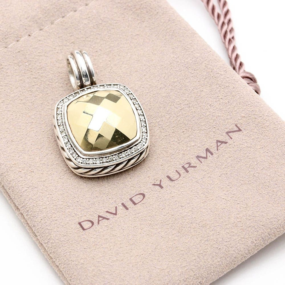 "David Yurman Sterling Silver ""Albion Dome"" Diamond Pendant with 18K Gold Accents"