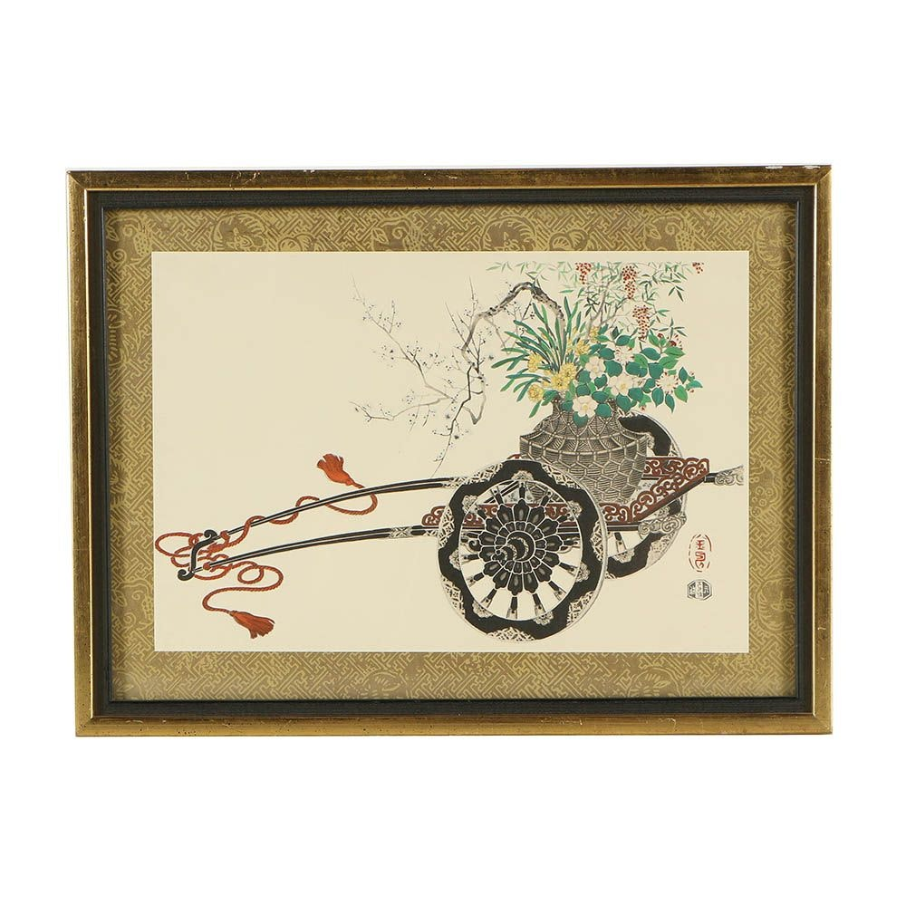 Japanese Hand-Colored Collotype Print
