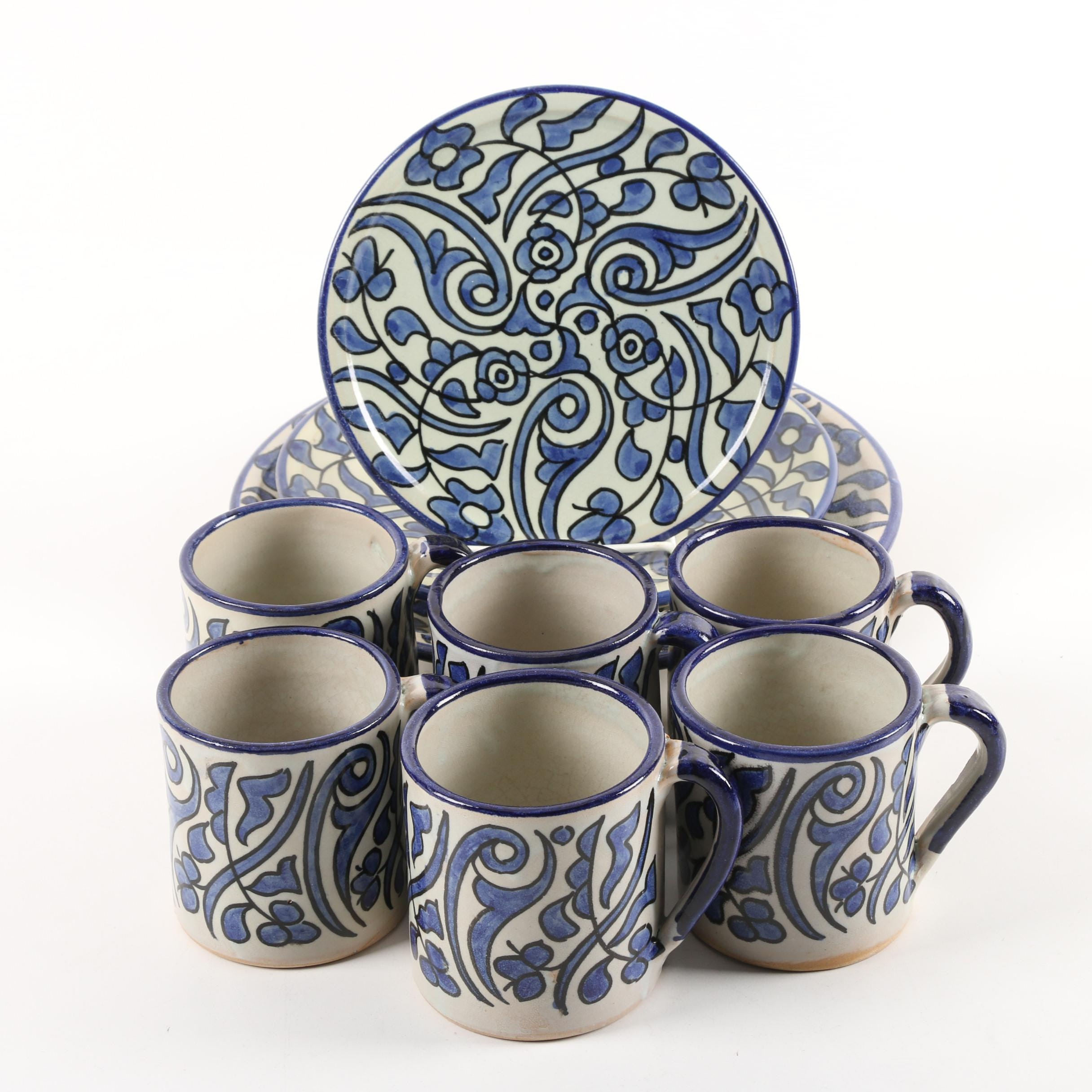 Moroccan Hand-Painted Ceramic Plates and Mugs