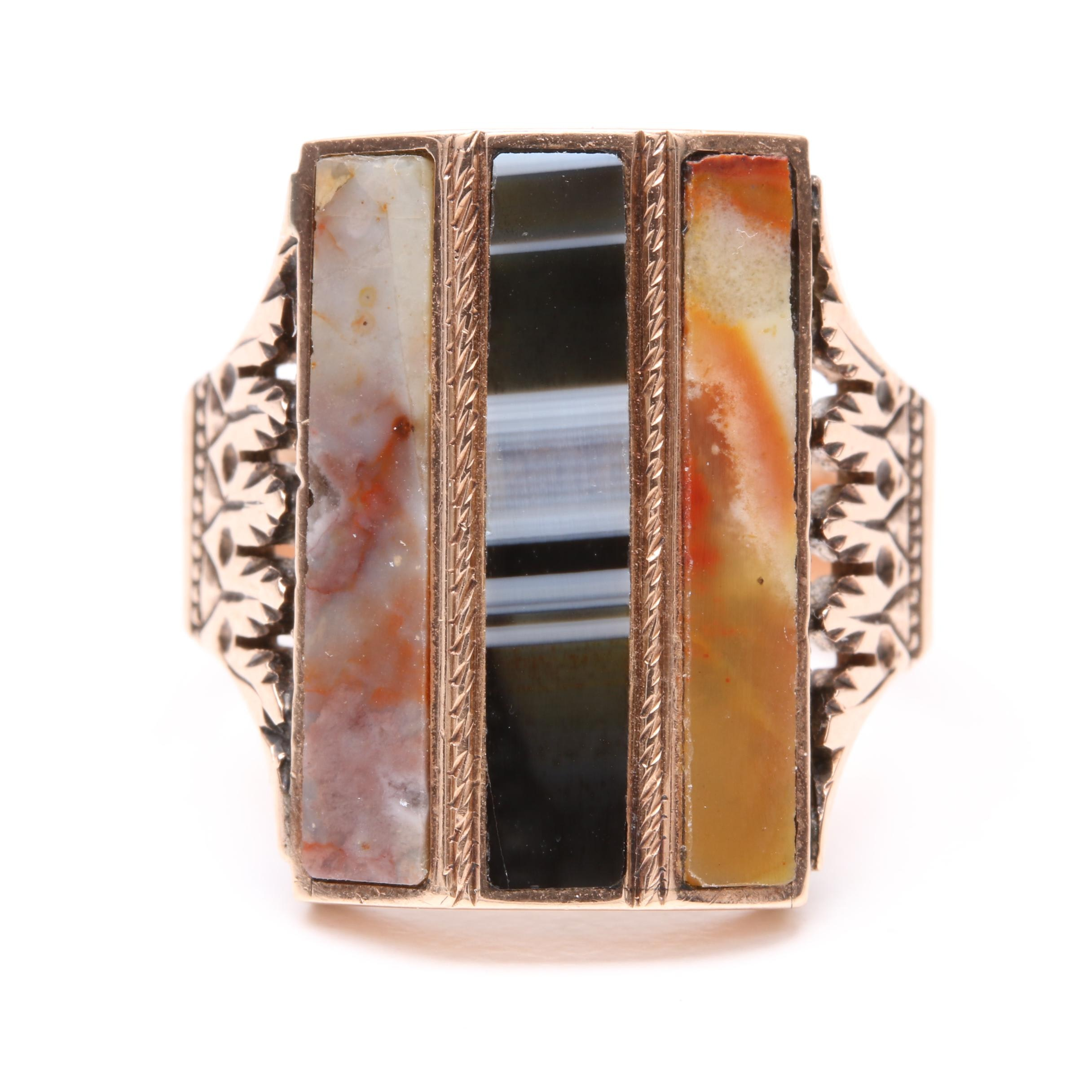 Victorian 10K Yellow Gold Agate and Enamel Ring