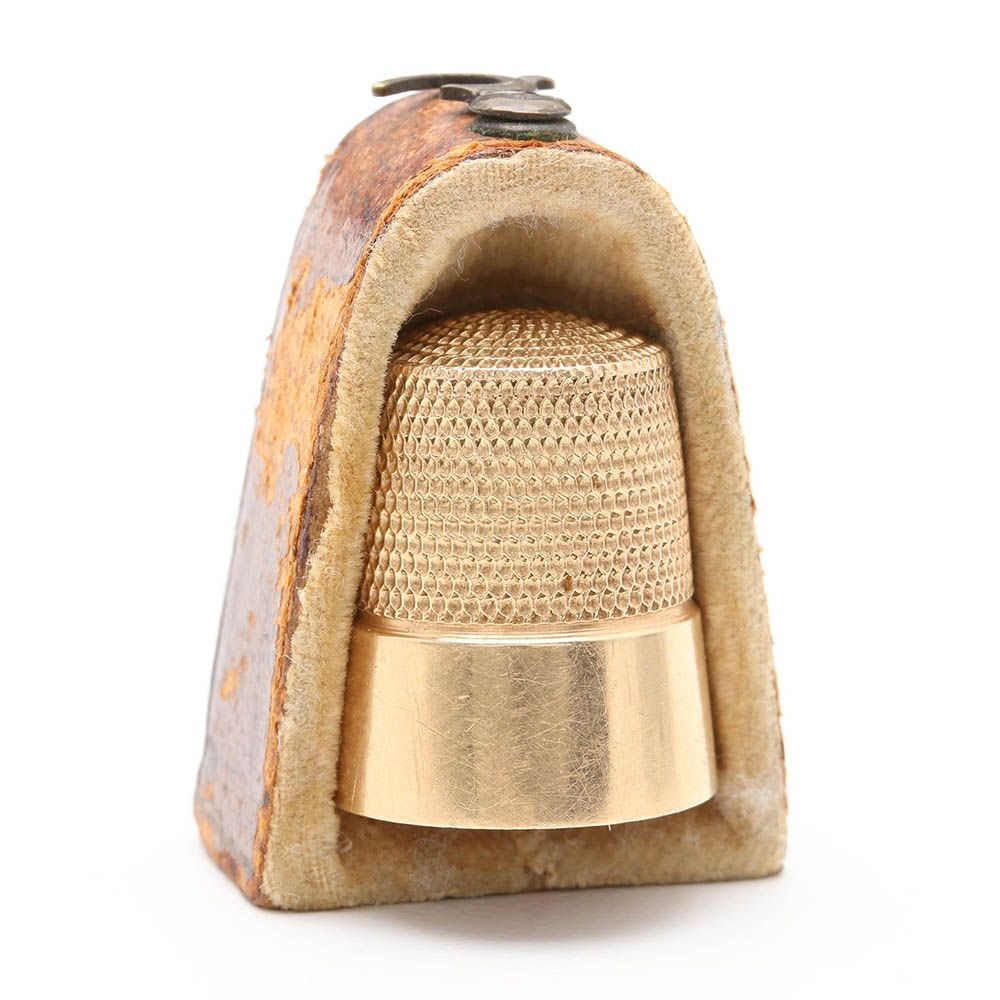 14K Yellow Gold Thimble with Box