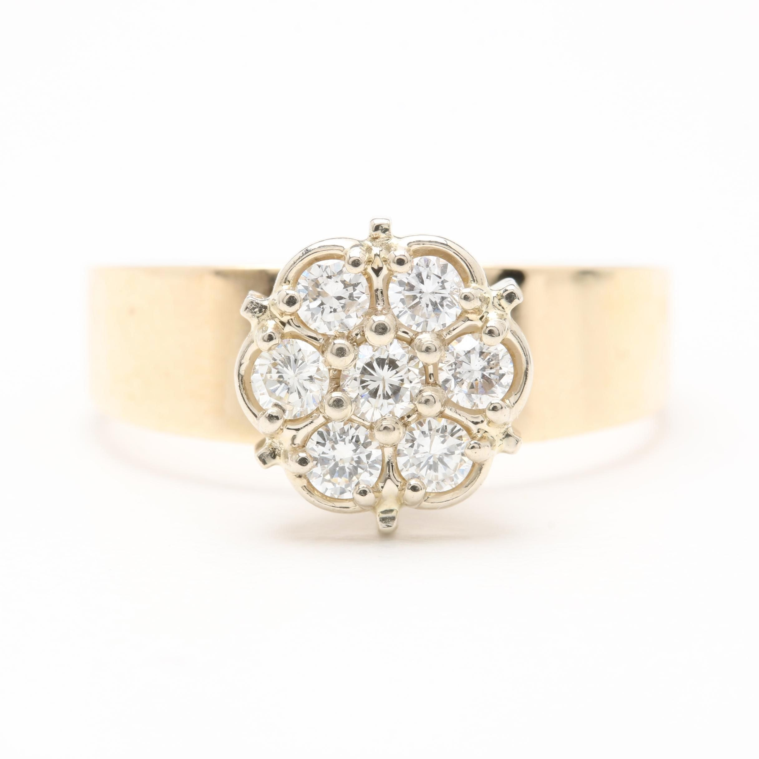 14K Yellow Gold Diamond Floral Cluster Ring