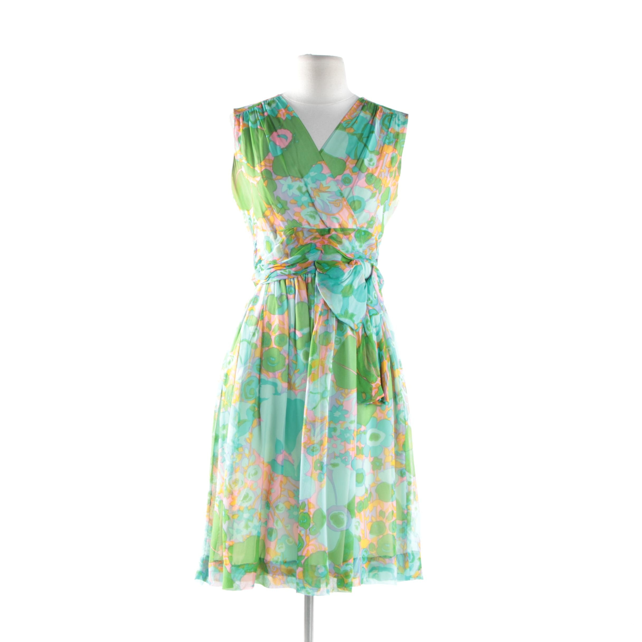 Women's Circa 1960s Suzy Perette Green Silk Chiffon Floral Print Midi Dress