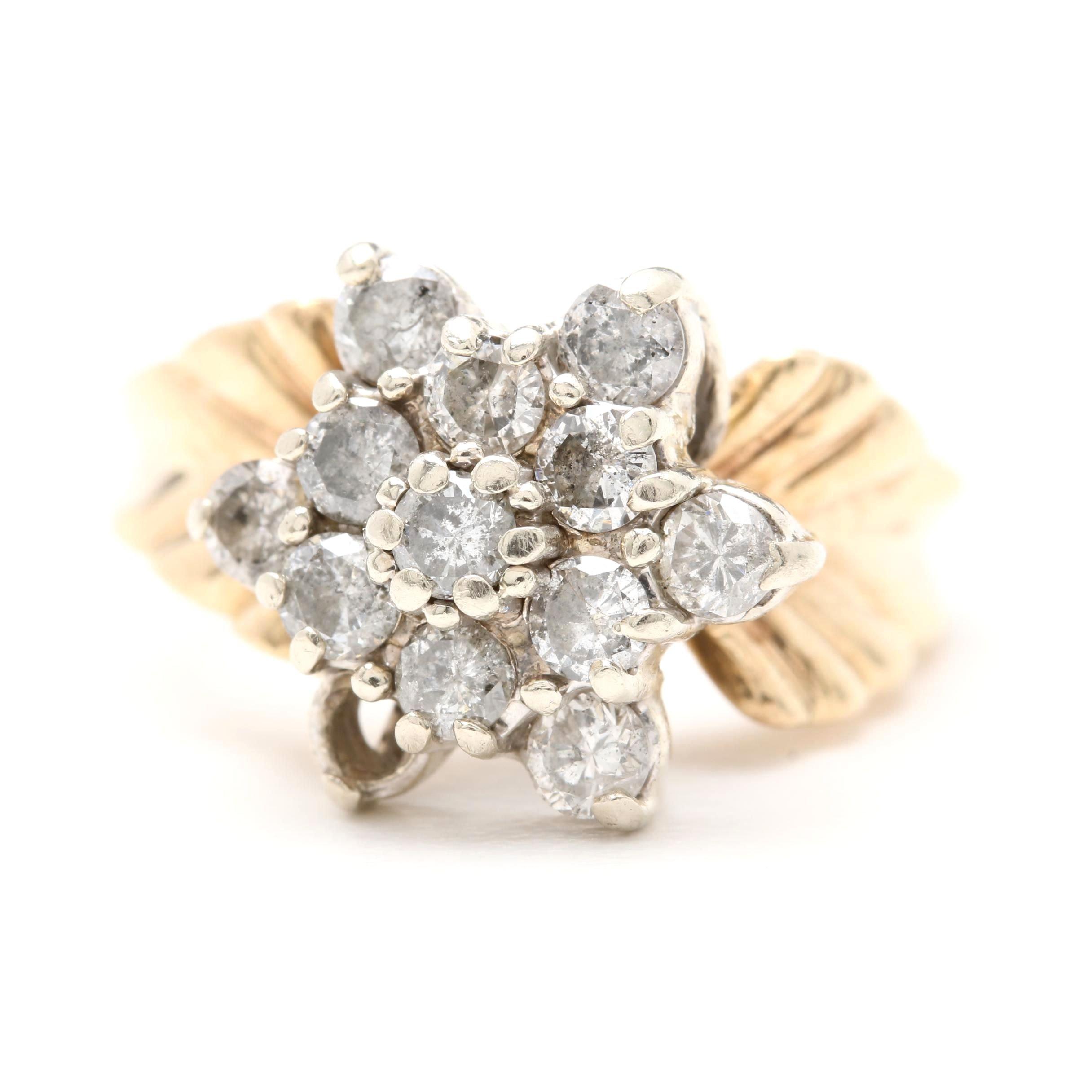 10K Yellow Gold Diamond Floral Motif Ring