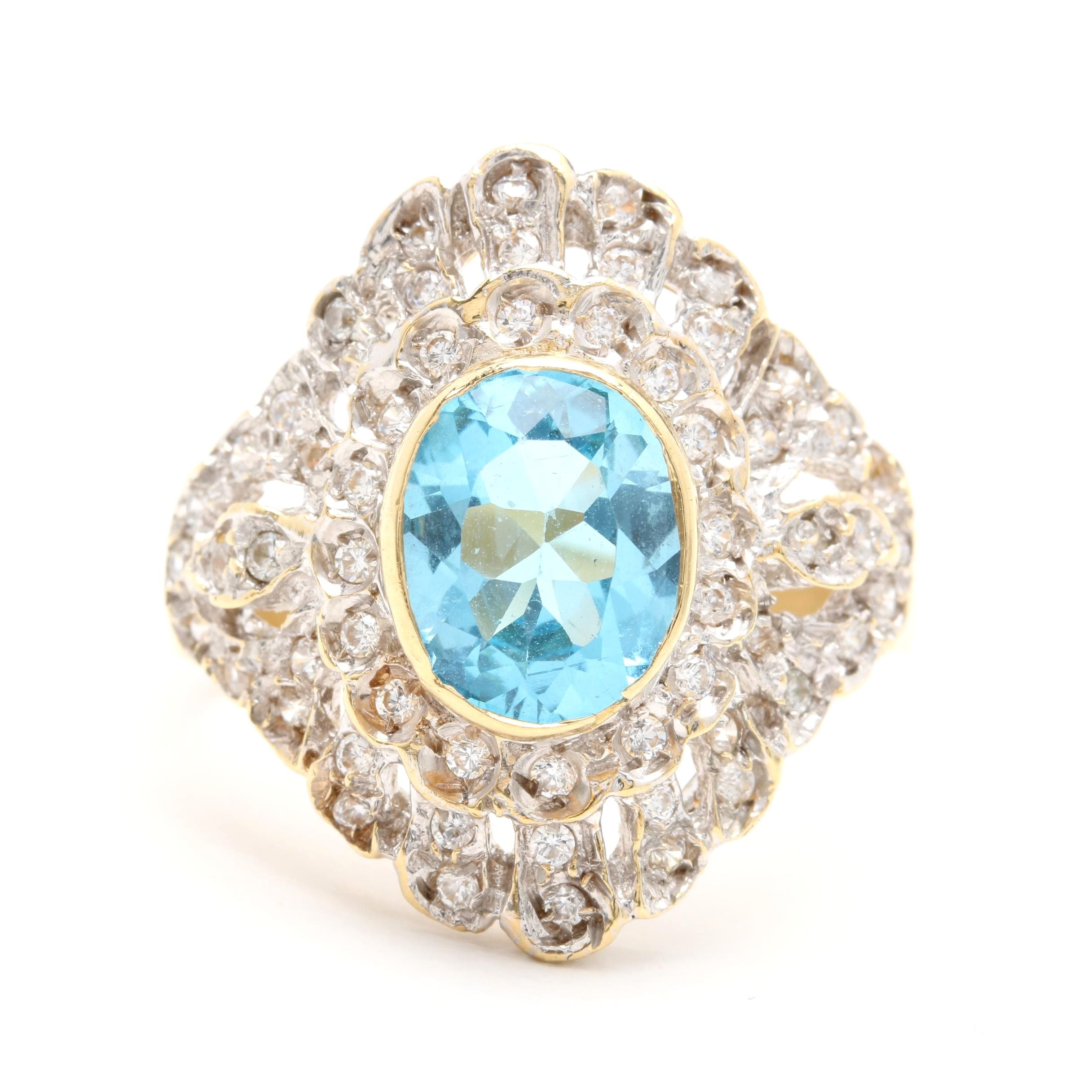 18K Yellow Gold Blue Topaz and Cubic Zirconia Ring