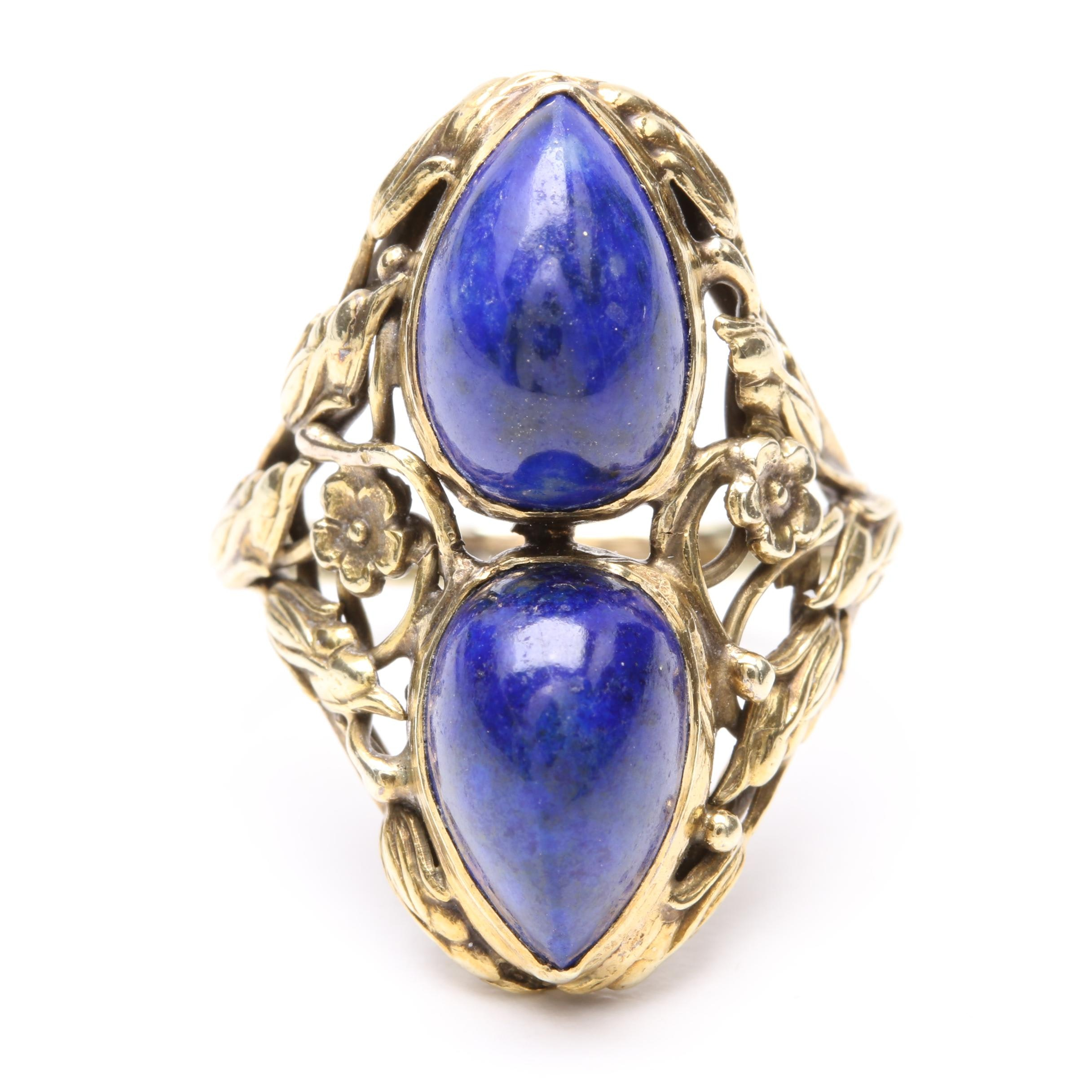 Art Nouveau 14K Yellow Gold Lapis Lazuli Ring