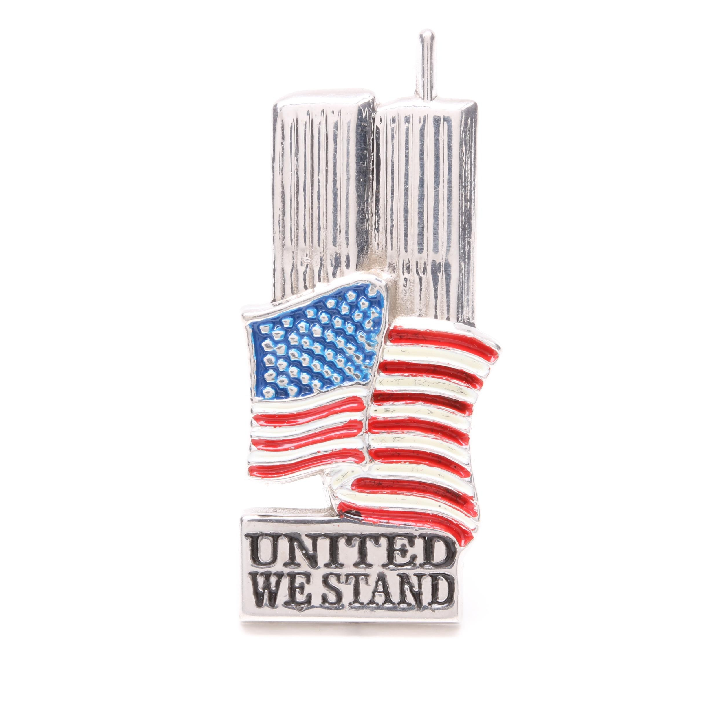 14K White Gold Enameled United We Stand World Trade Center Brooch