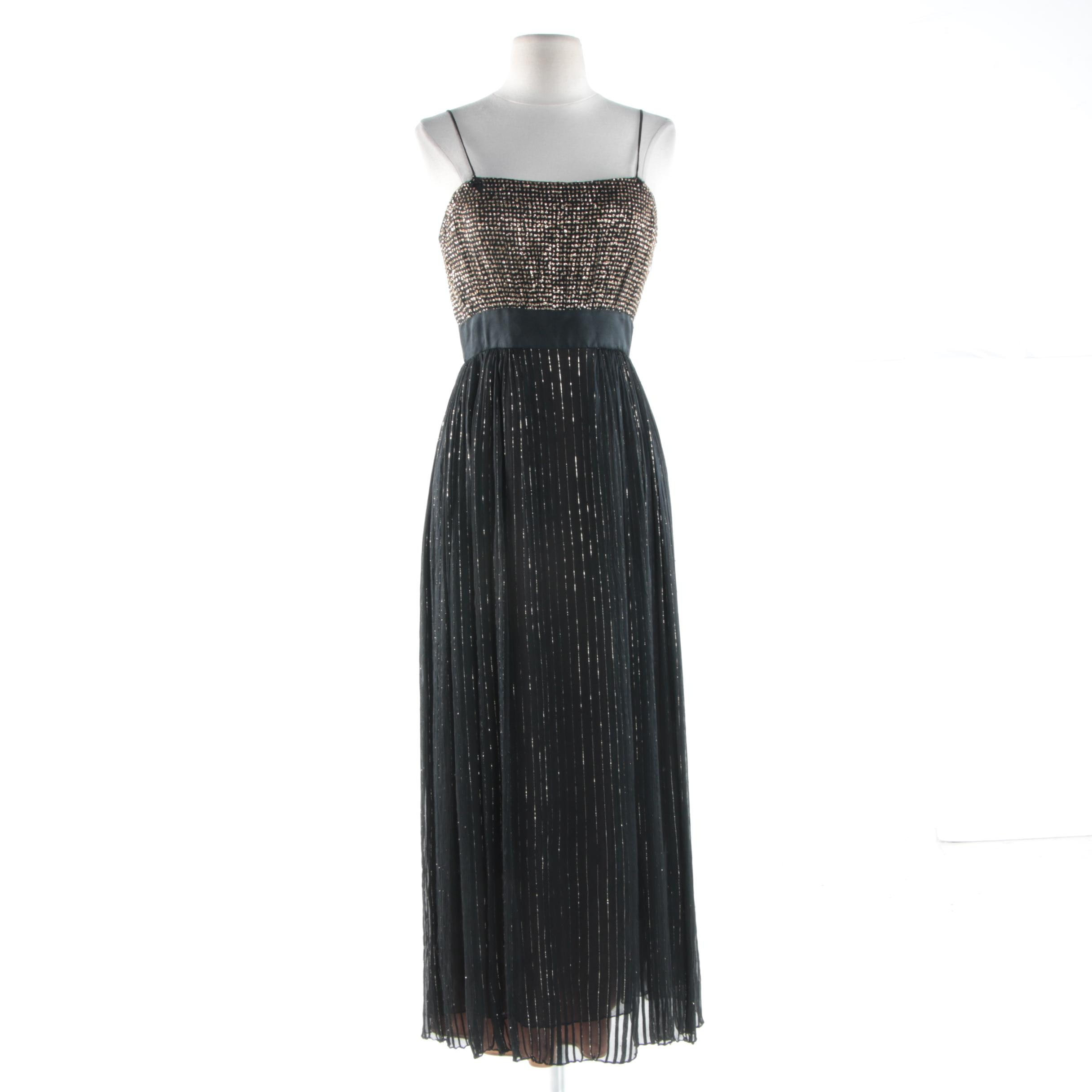 1970s Vintage Werle on Rodeo Beverly Hills Black and Gold Chiffon Evening Dress