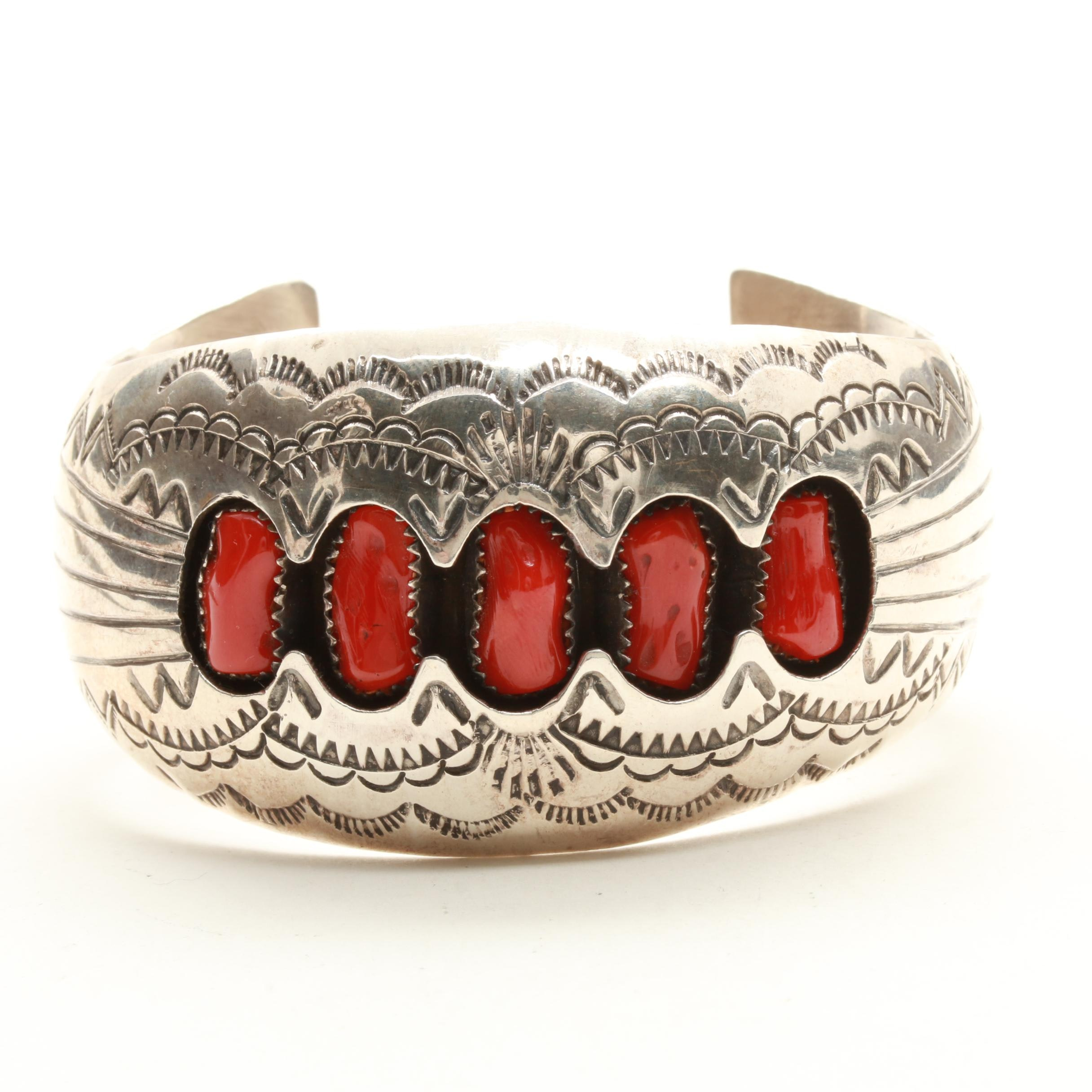 P. Benally Navajo Diné Sterling Silver Shadowbox Coral Cuff Bracelet