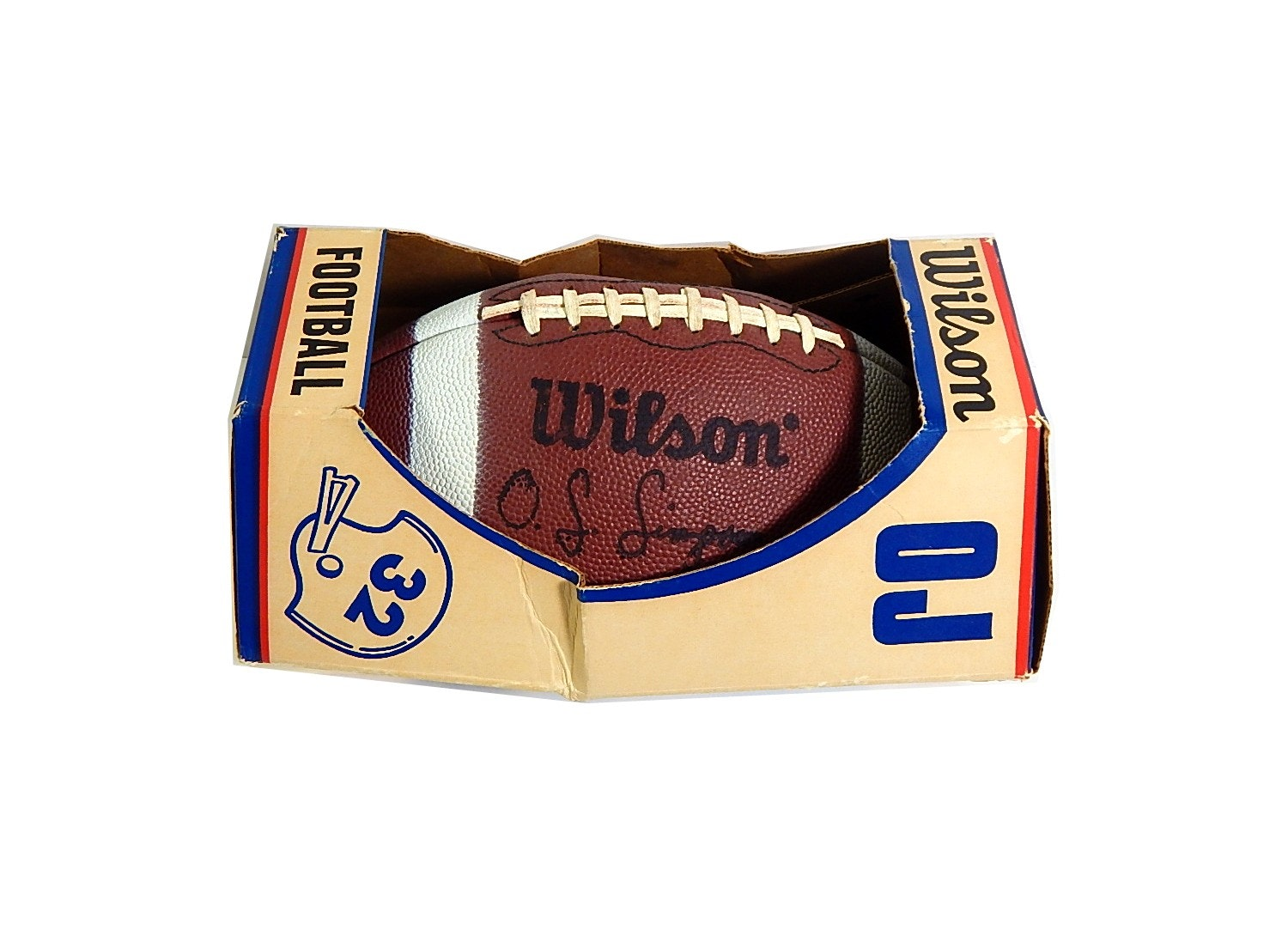 Vintage O.J. Simpson Wilson Football - Signed by Ken Anderson