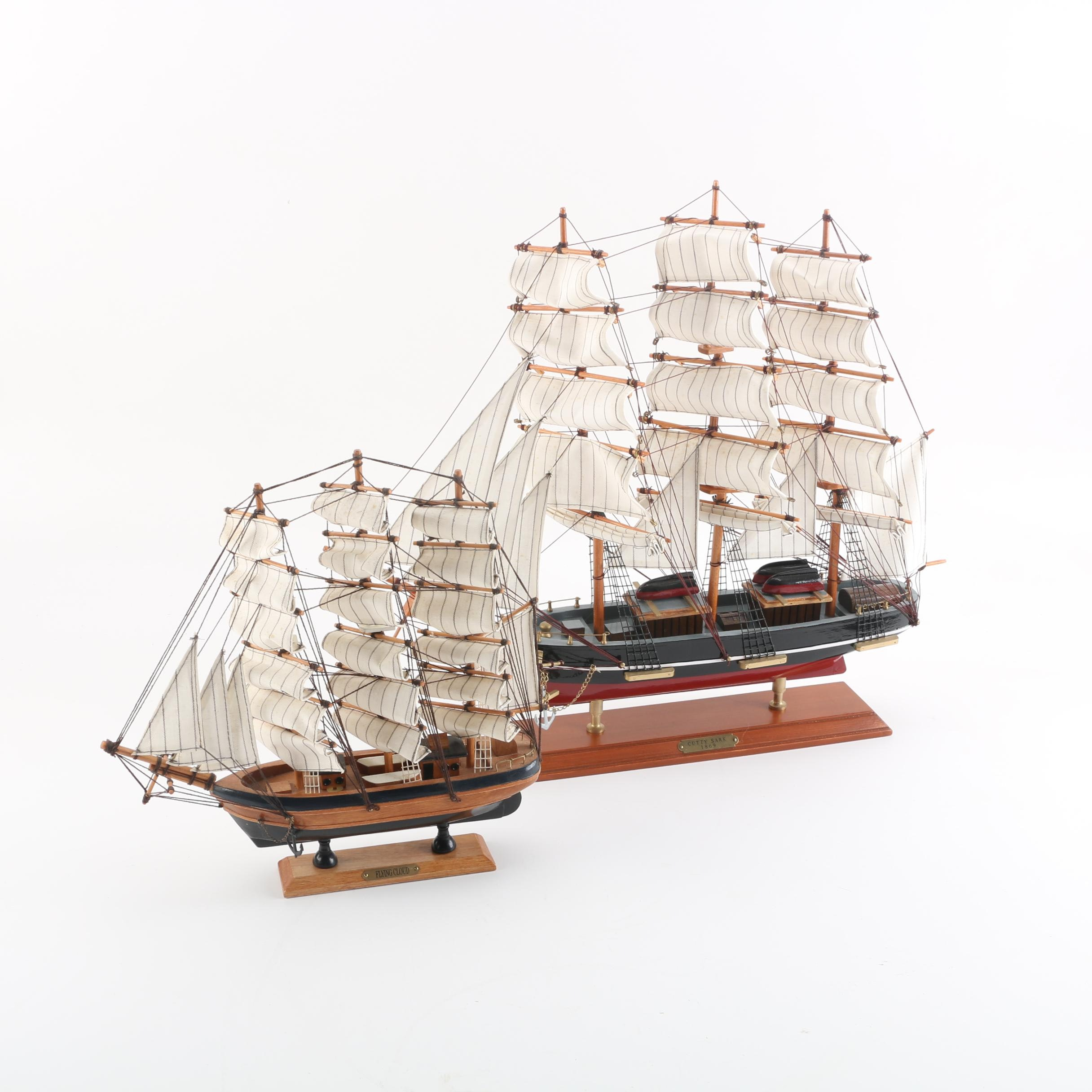 """Cutty Sark"" and  ""Flying Cloud"" Wooden Model Ships"