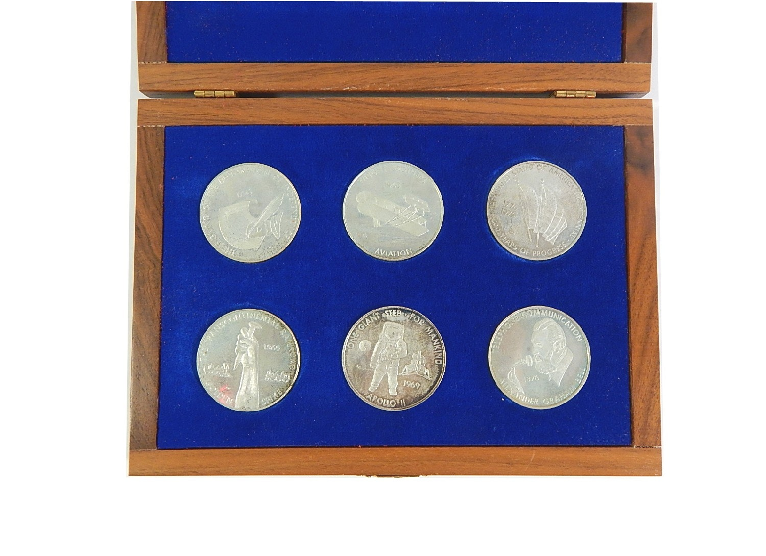 Six Sterling Silver Medals of United States First Historical Events