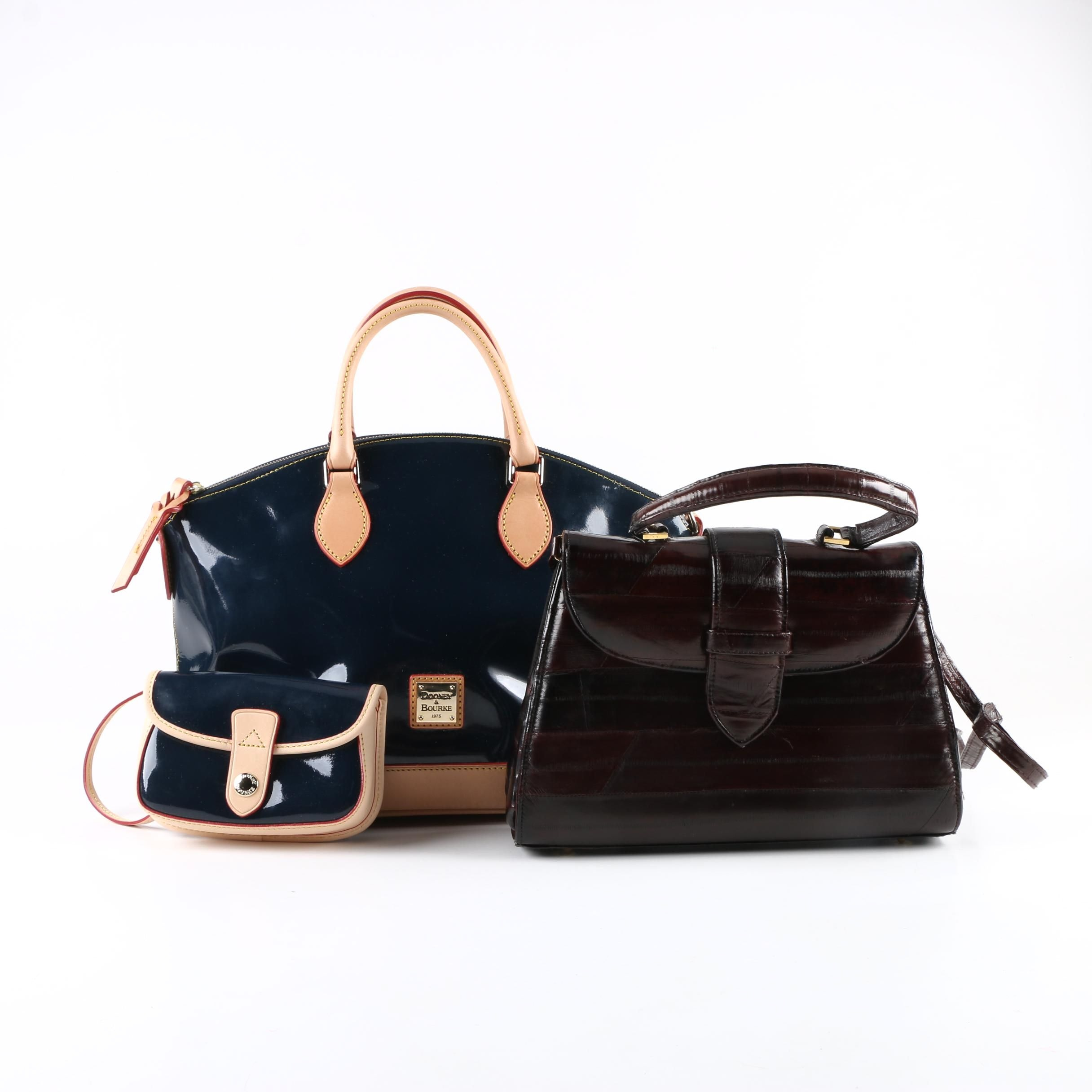 Dooney & Bourke Navy Satchel and Wristlet with J. Reneé Eel Skin Handbag