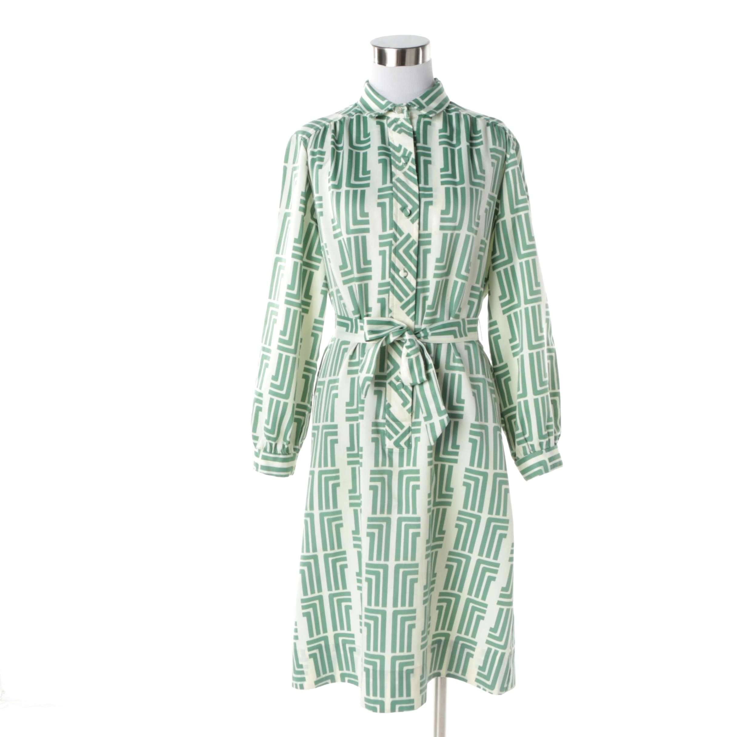 Women's Circa 1960s Lanvin White and Green Geometric Print Shift Dress