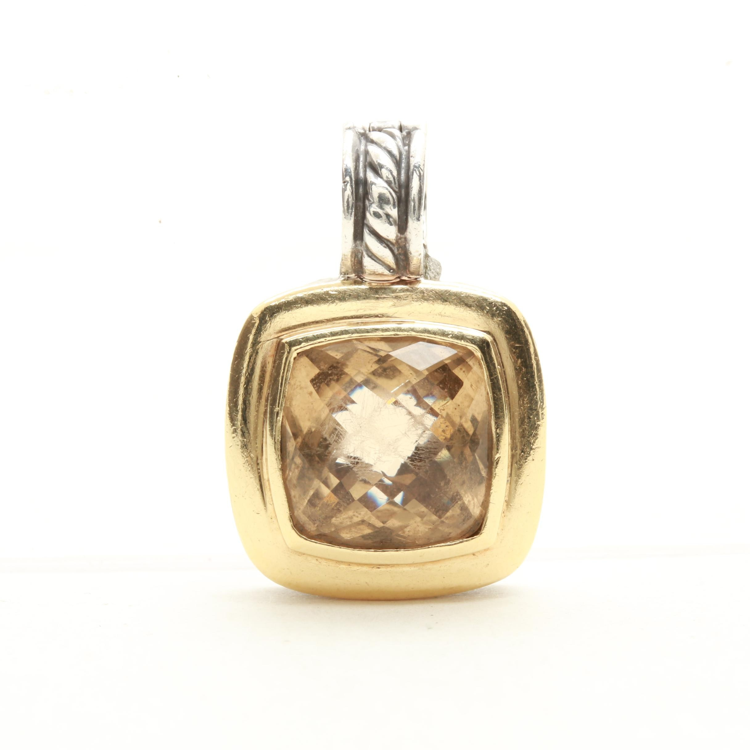 "David Yurman Sterling Silver Citrine ""Albion Collection"" Pendant with 18K Gold"