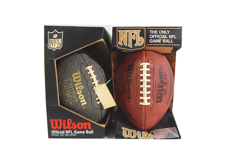 Two Vintage Wilson NFL Leather Footballs