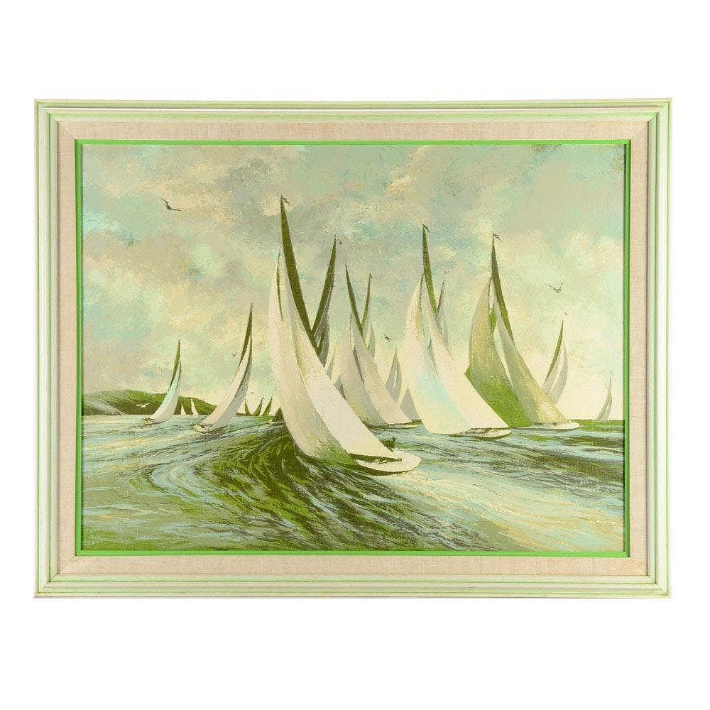 "Large Serigraph Print on Canvas ""Sailboats"""