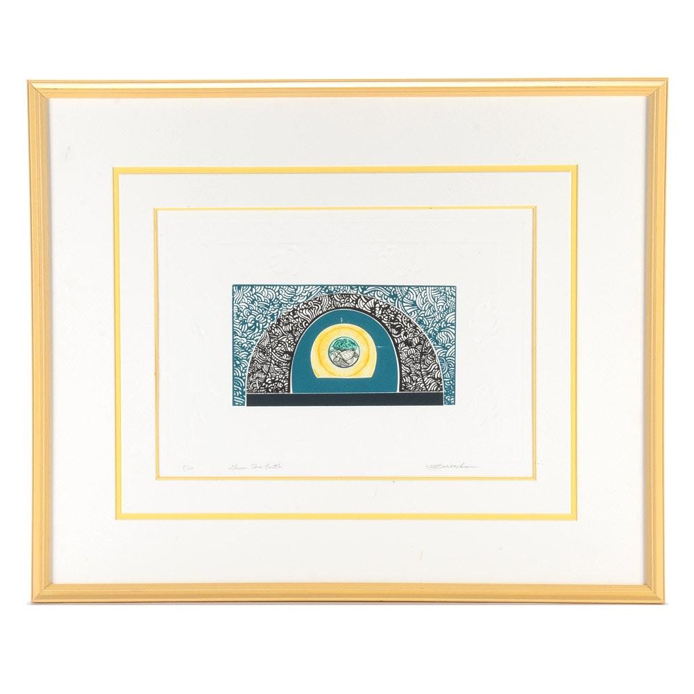 """Martin Barooshian Limited Editin Mixed Media Print """"Green Sea Turtle"""""""