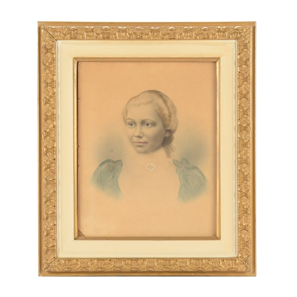 19th Century Crayon Portrait of Ona Hulls