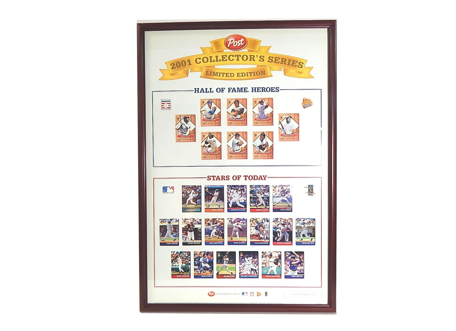 Framed 26x38 Limited Edition Post Baseball 2001 Collector's Series Print